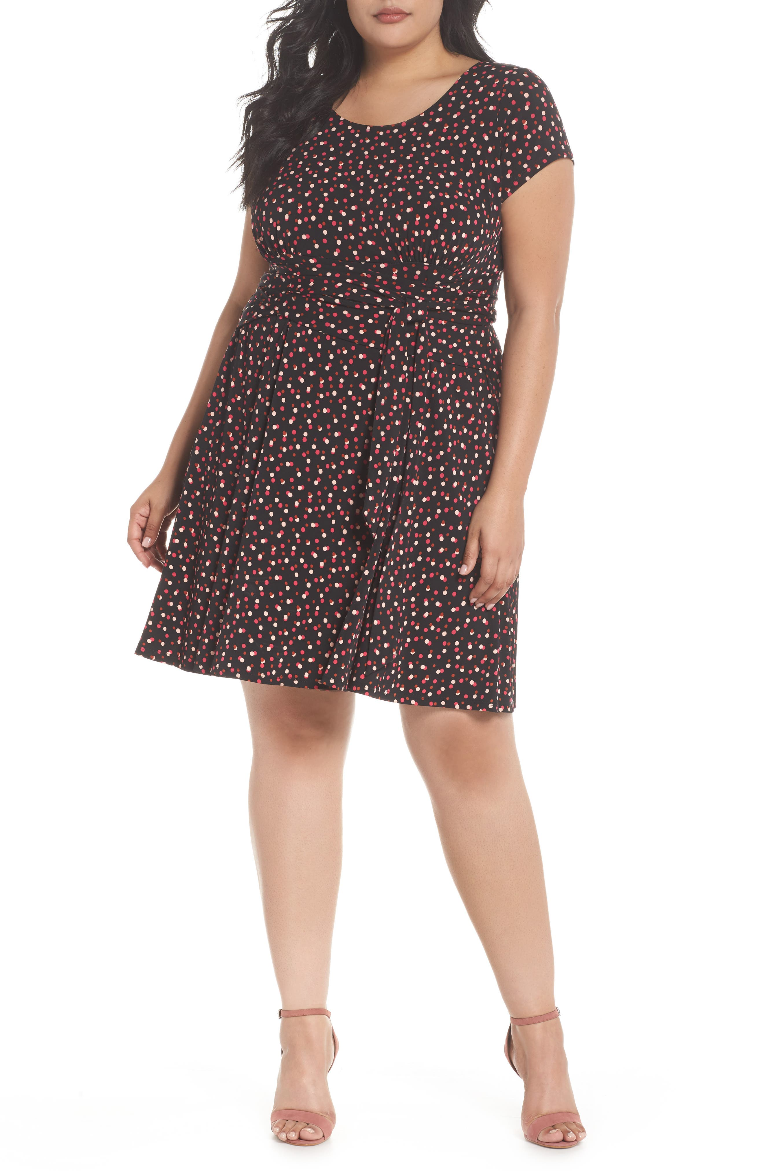 Brittany Print Wrap Tie Dress,                         Main,                         color, TWLIGHT DOT PINK PEACOCK