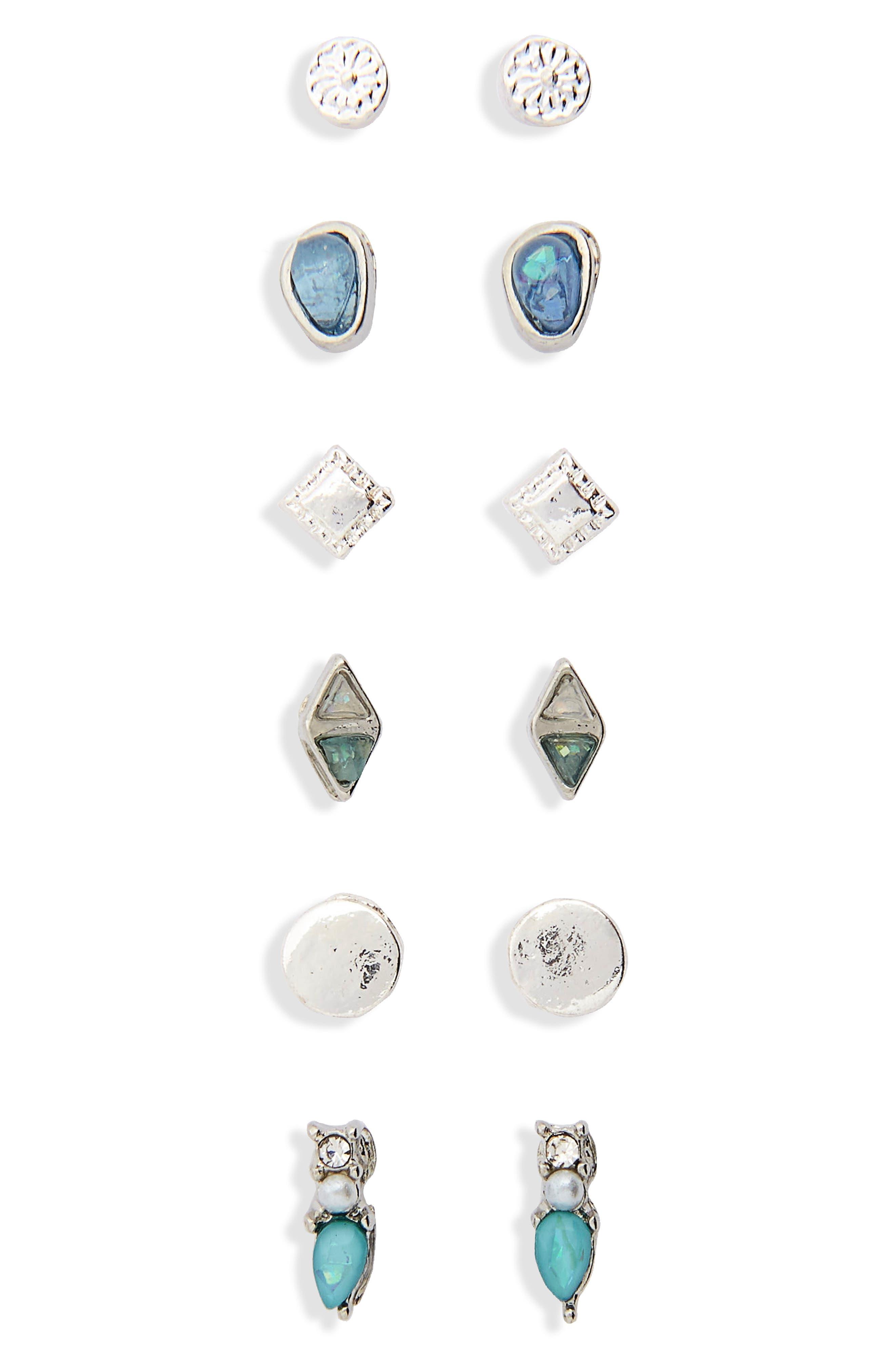 6-Pack Dainty Stone Stud Earrings,                         Main,                         color,