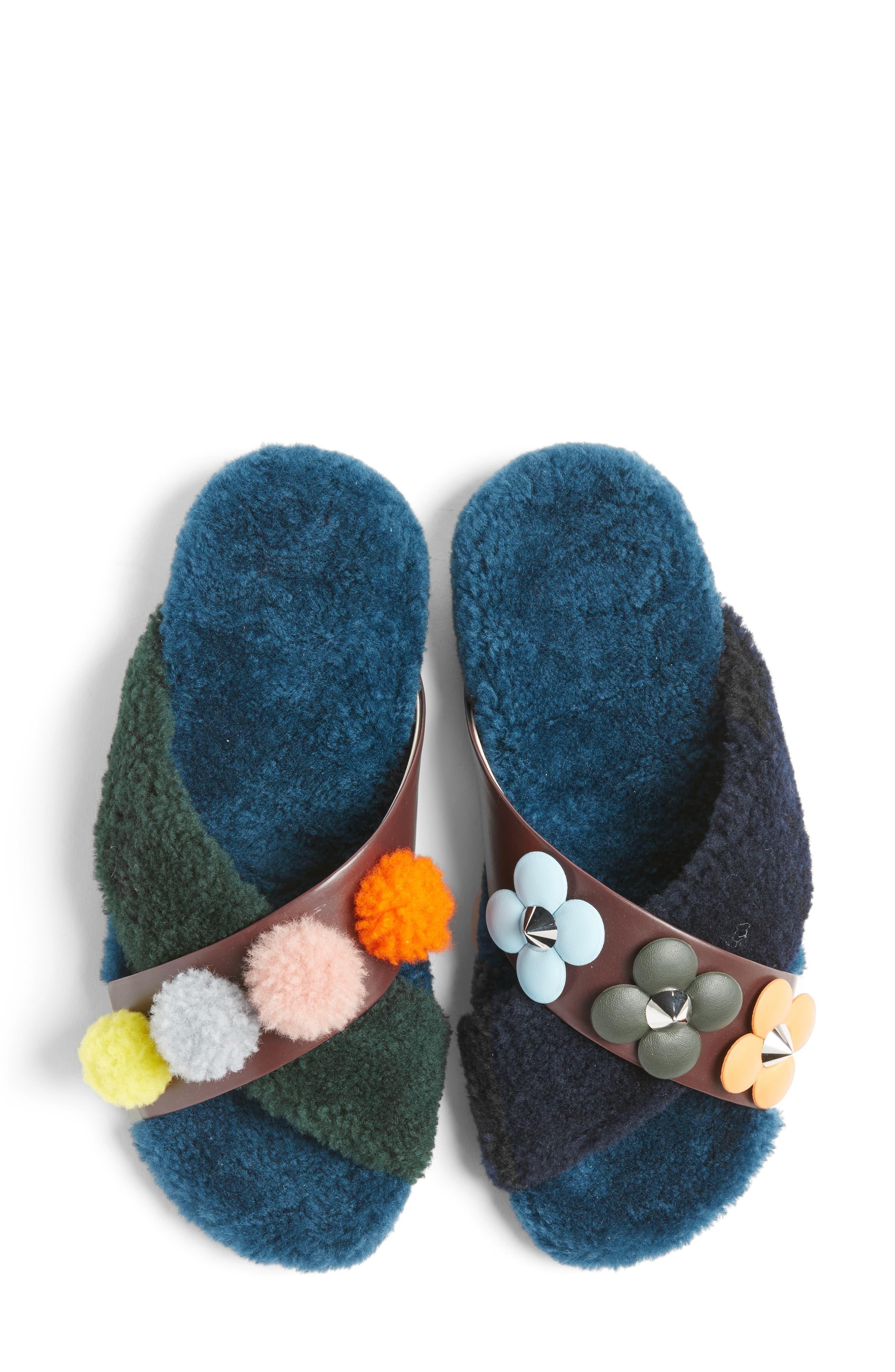 Genuine Shearling Slide Sandal,                             Alternate thumbnail 4, color,                             002
