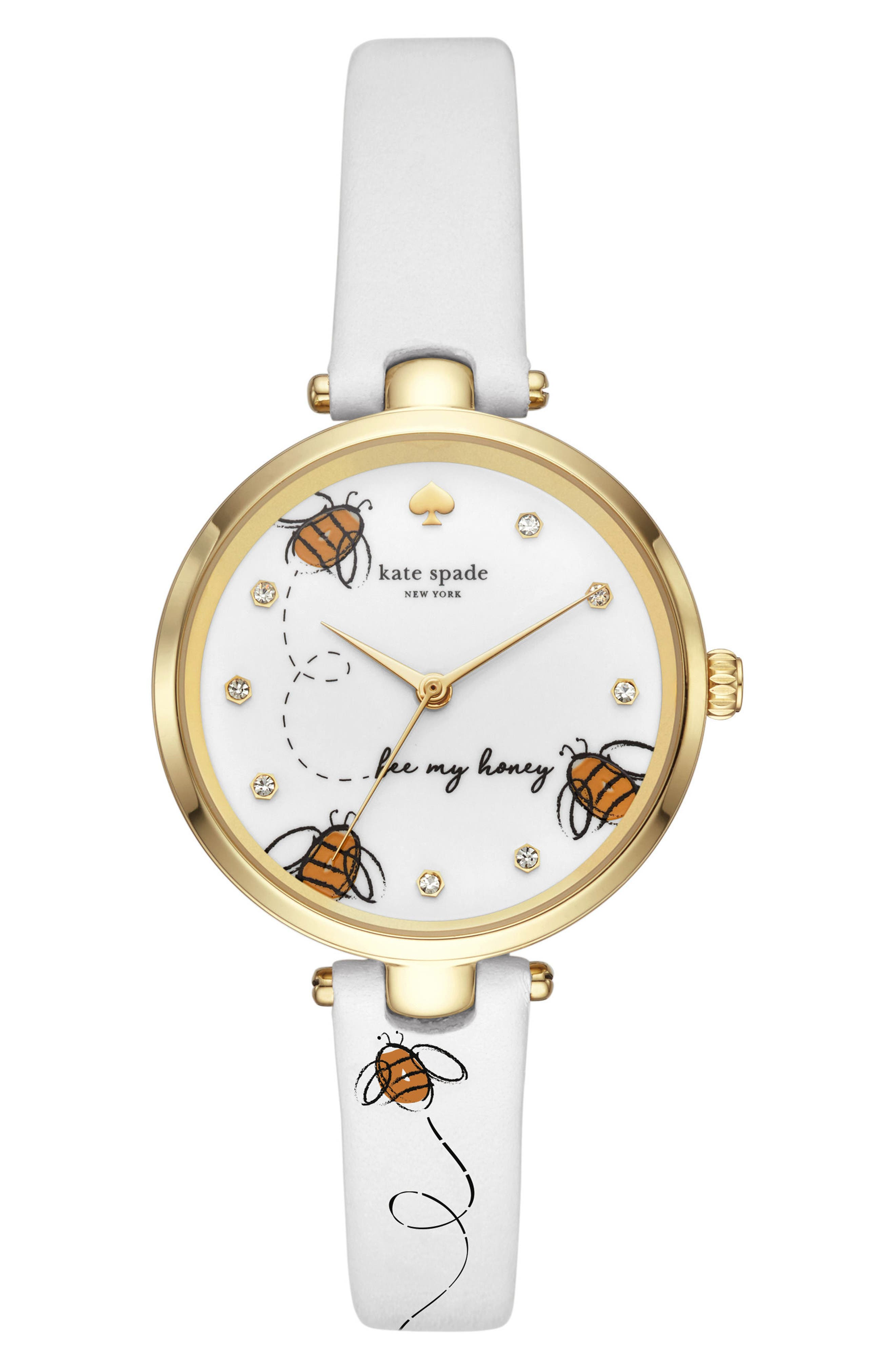 kate spade holland bee leather strap watch, 34mm,                         Main,                         color, WHITE/ BLACK/ GOLD