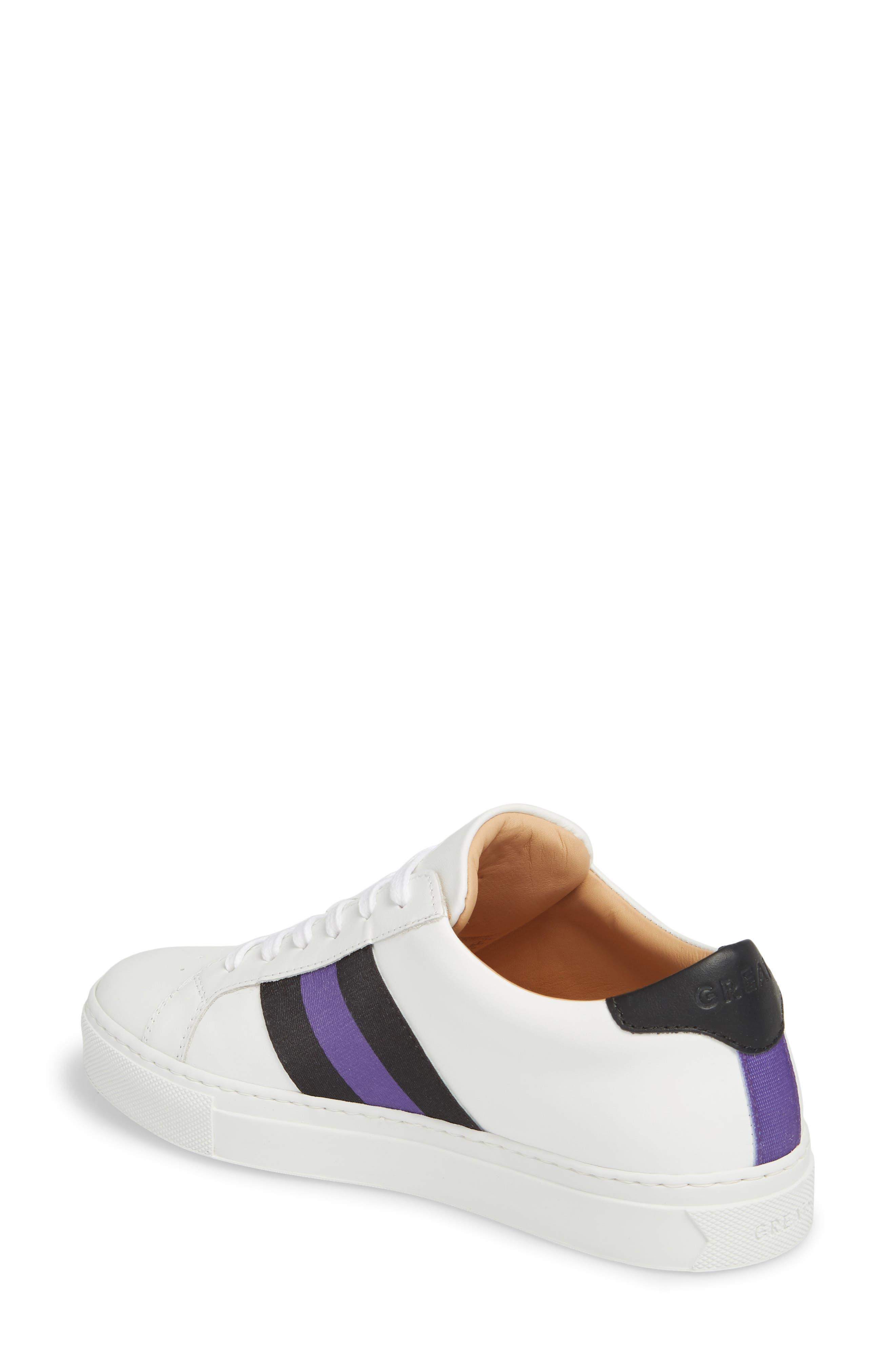 Royale Stripe Sneaker,                             Alternate thumbnail 2, color,                             WHITE/ BLACK/ VIOLET