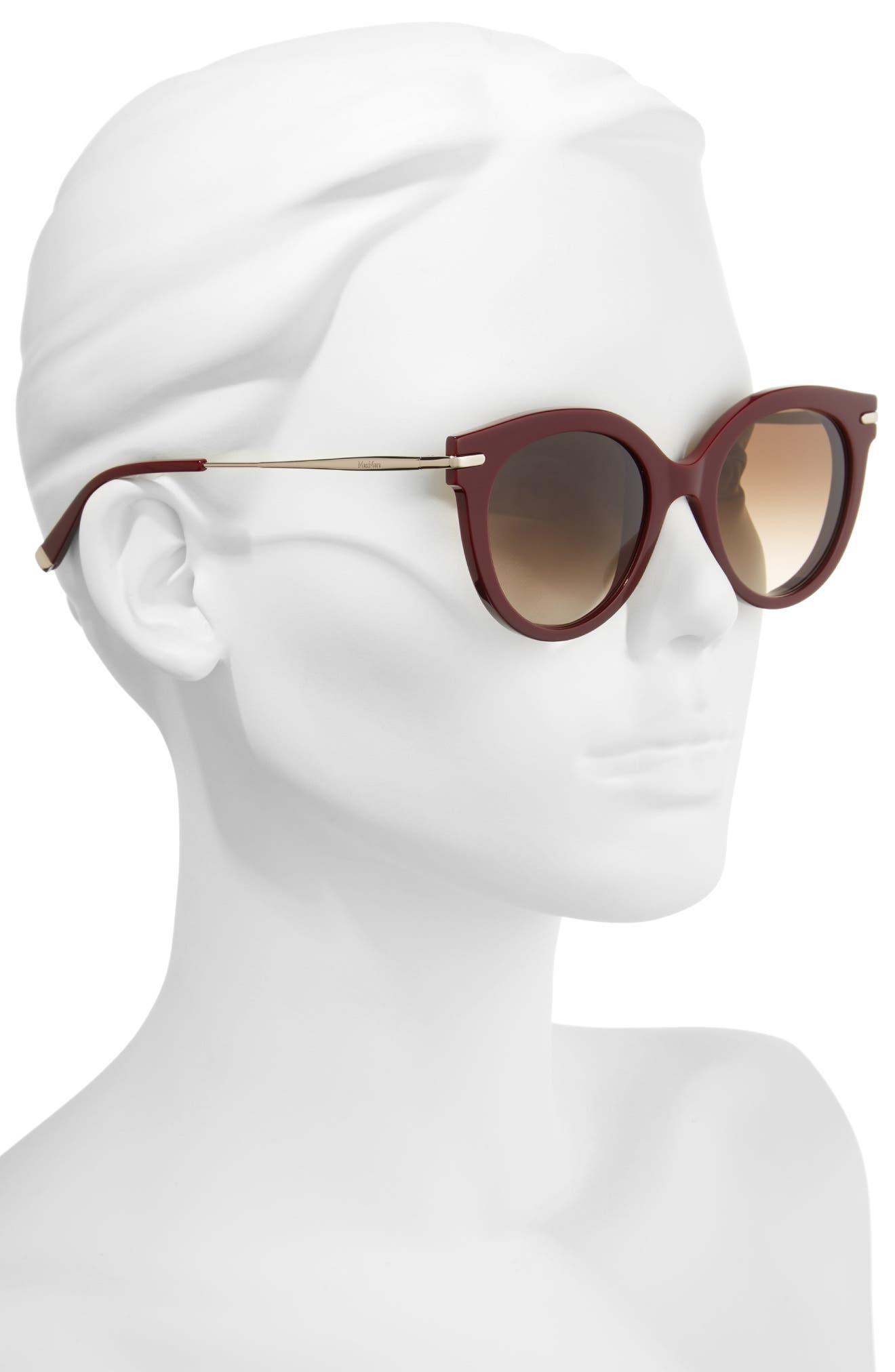 Needle VI 50mm Gradient Round Sunglasses,                             Alternate thumbnail 2, color,                             BURGUNDY GOLD