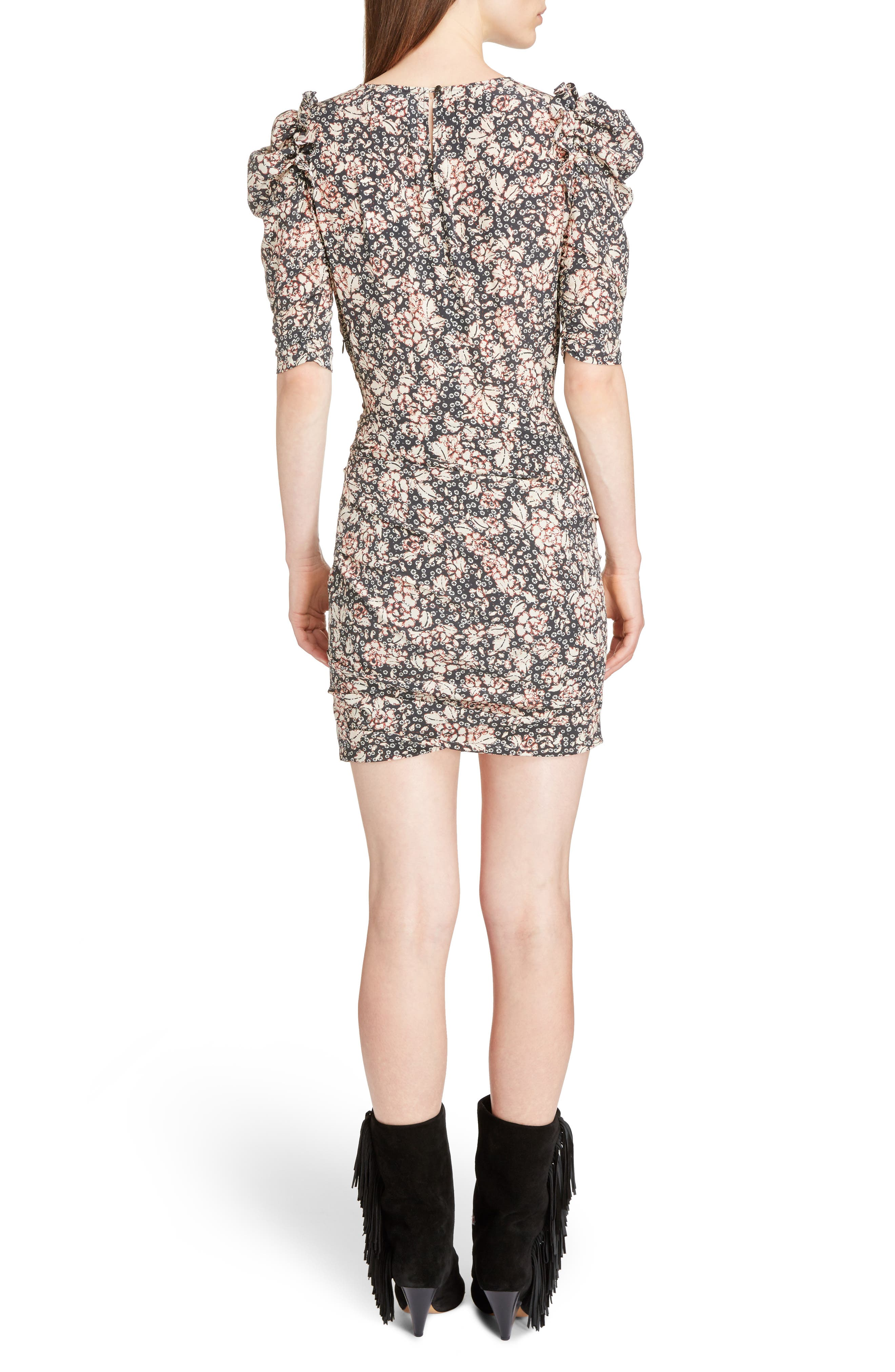 Brizia Floral Print Stretch Silk Puff Sleeve Dress,                             Alternate thumbnail 2, color,