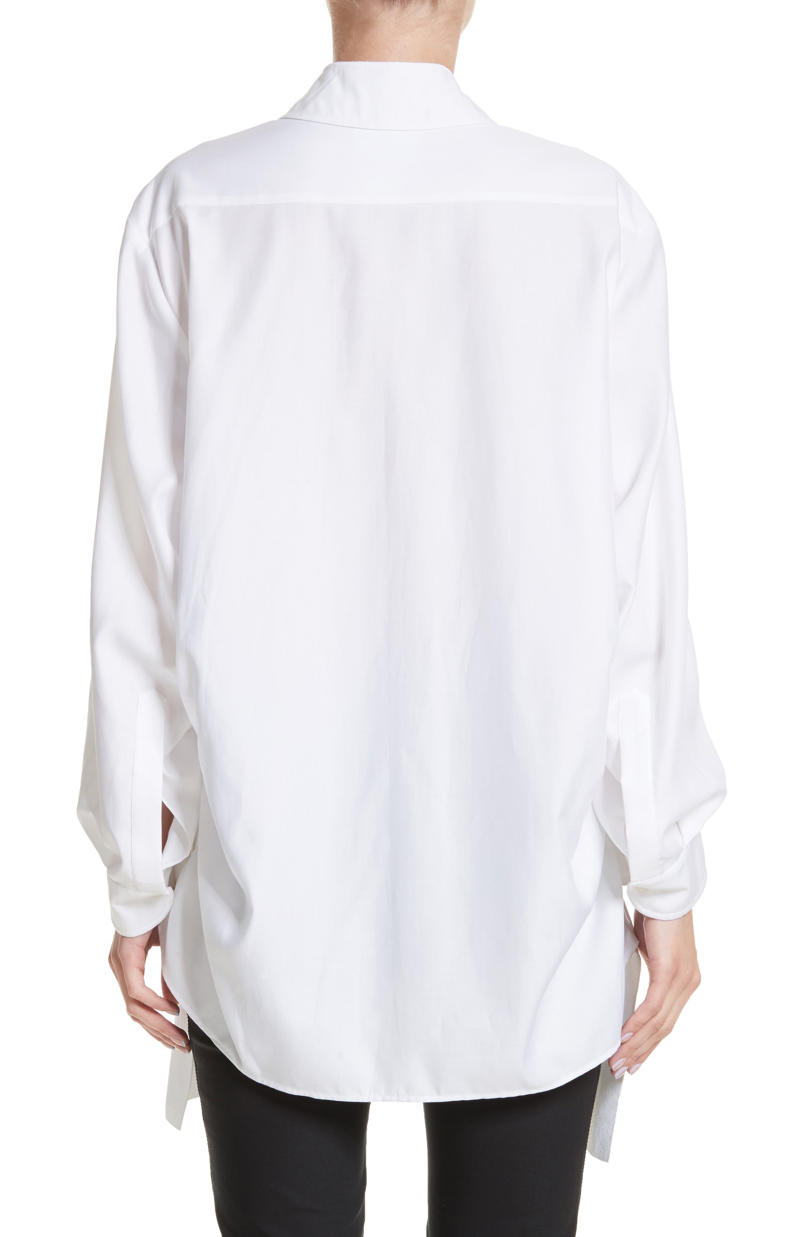 Tape Detail Cotton Shirt,                             Alternate thumbnail 2, color,                             100