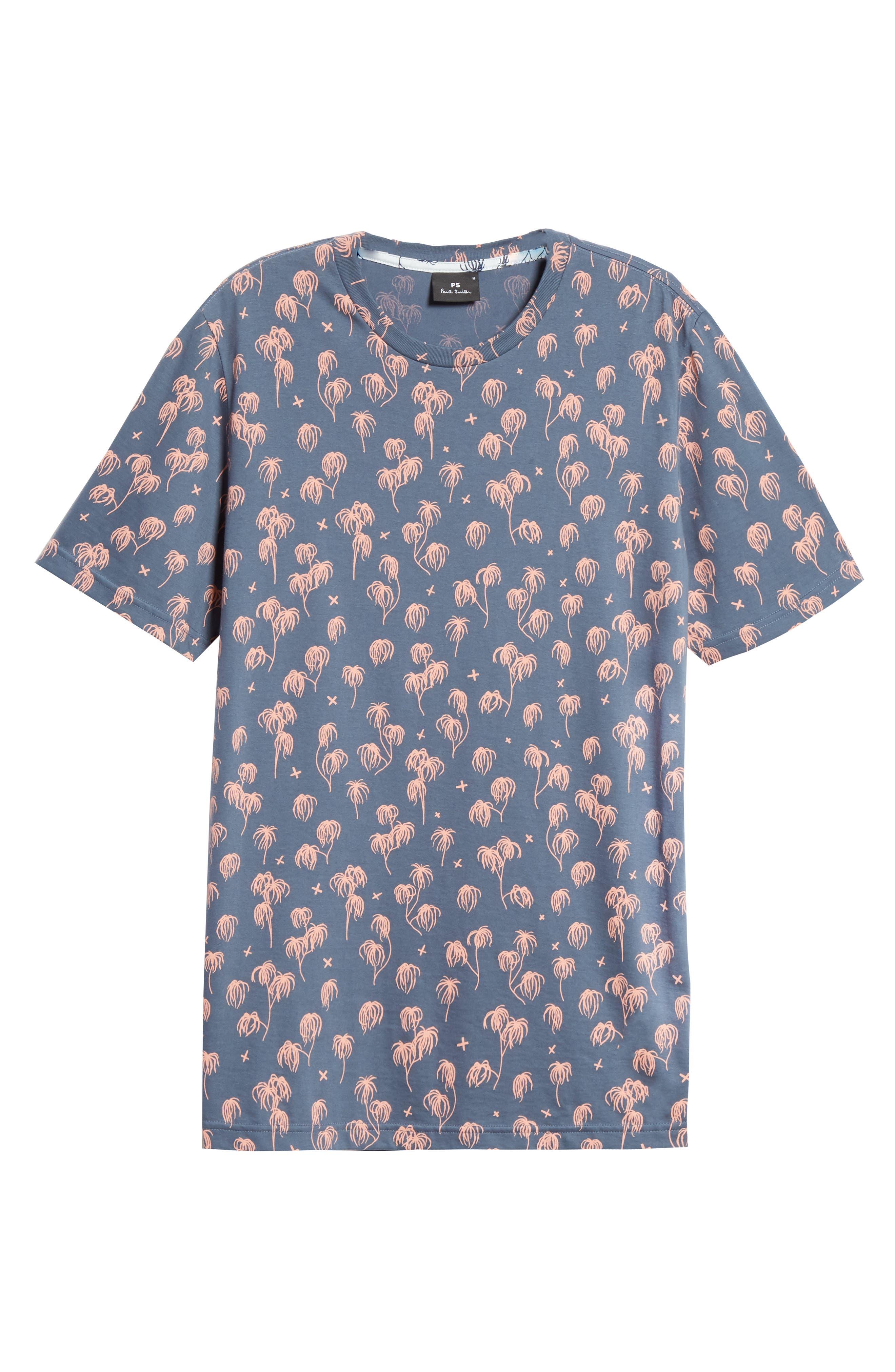 Palm Print T-Shirt,                             Alternate thumbnail 6, color,                             BLUE
