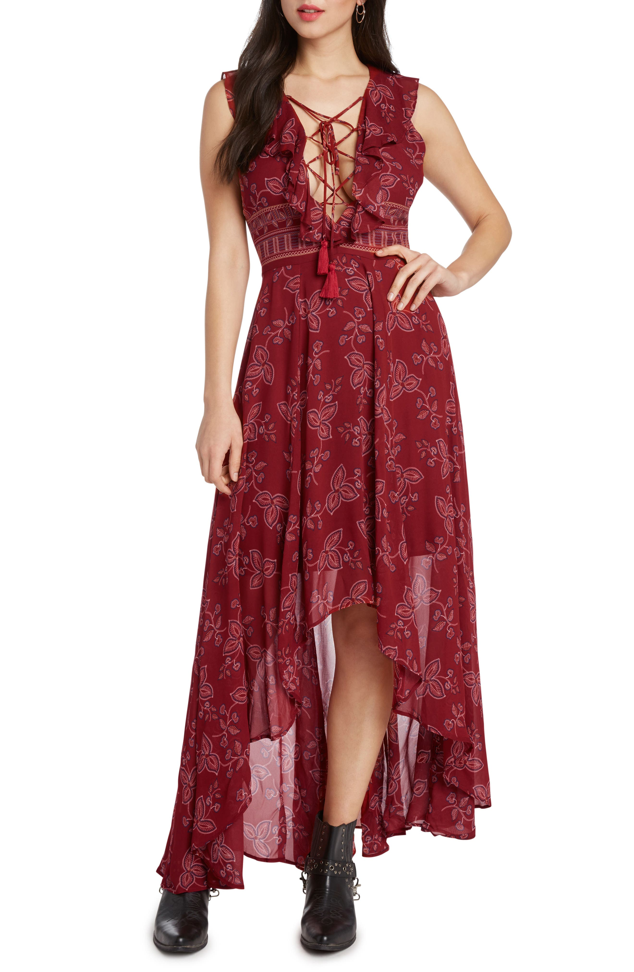 Print High/Low Maxi Dress,                             Alternate thumbnail 3, color,                             SCARLET
