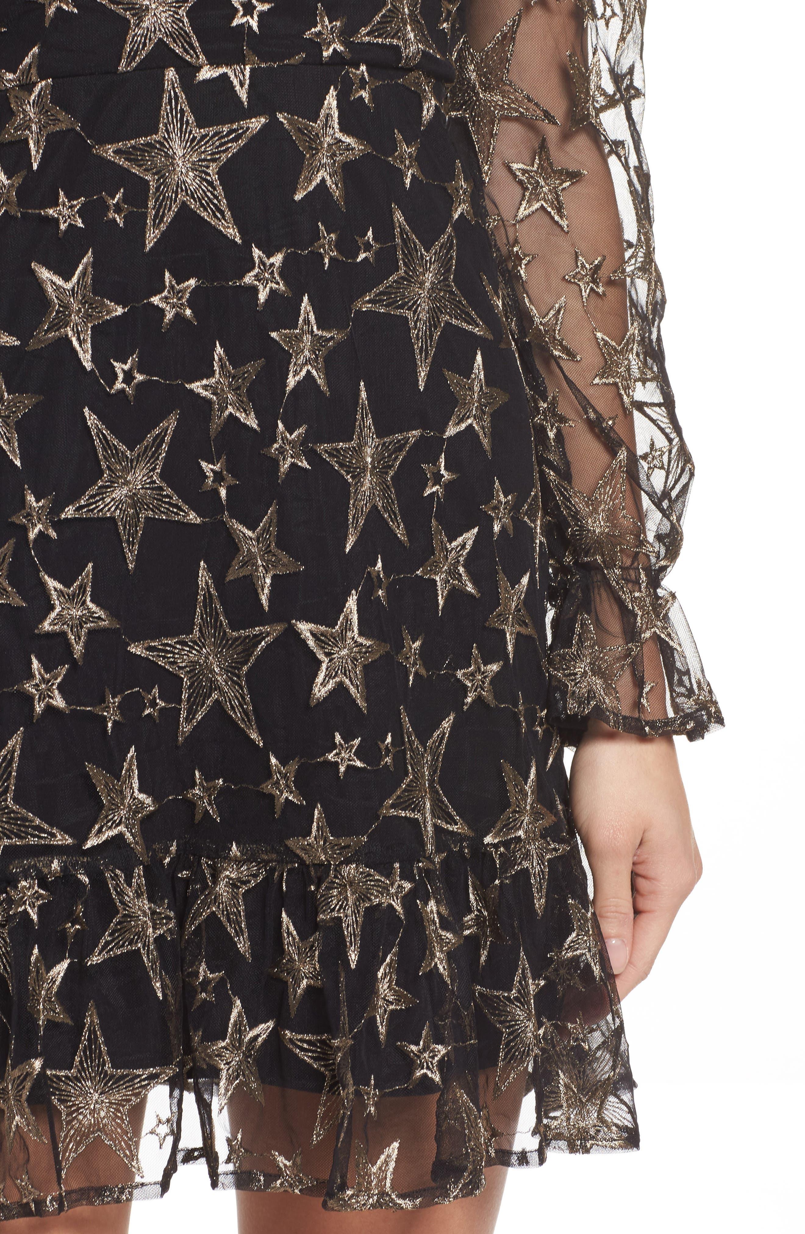 Off the Shoulder Star Embroidered Dress,                             Alternate thumbnail 4, color,                             001
