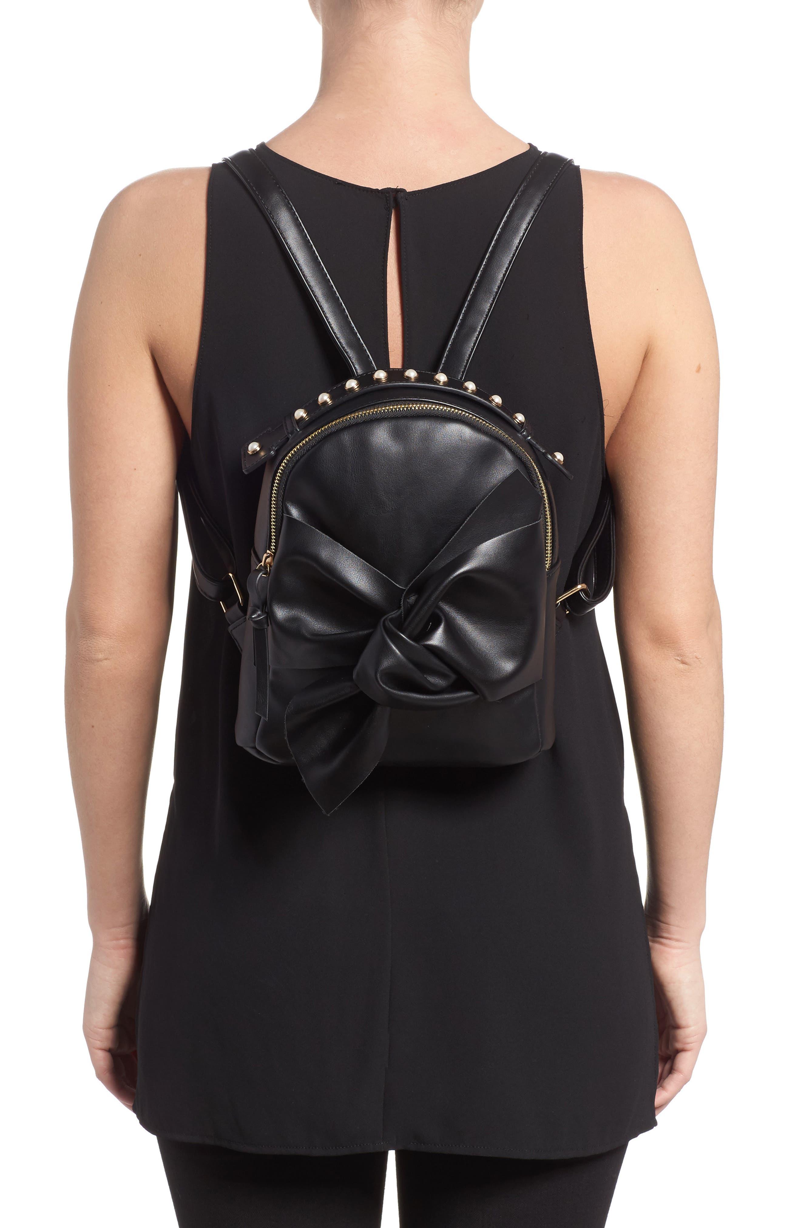 Imitation Pearl Handle Bow Mini Backpack,                             Alternate thumbnail 2, color,                             001