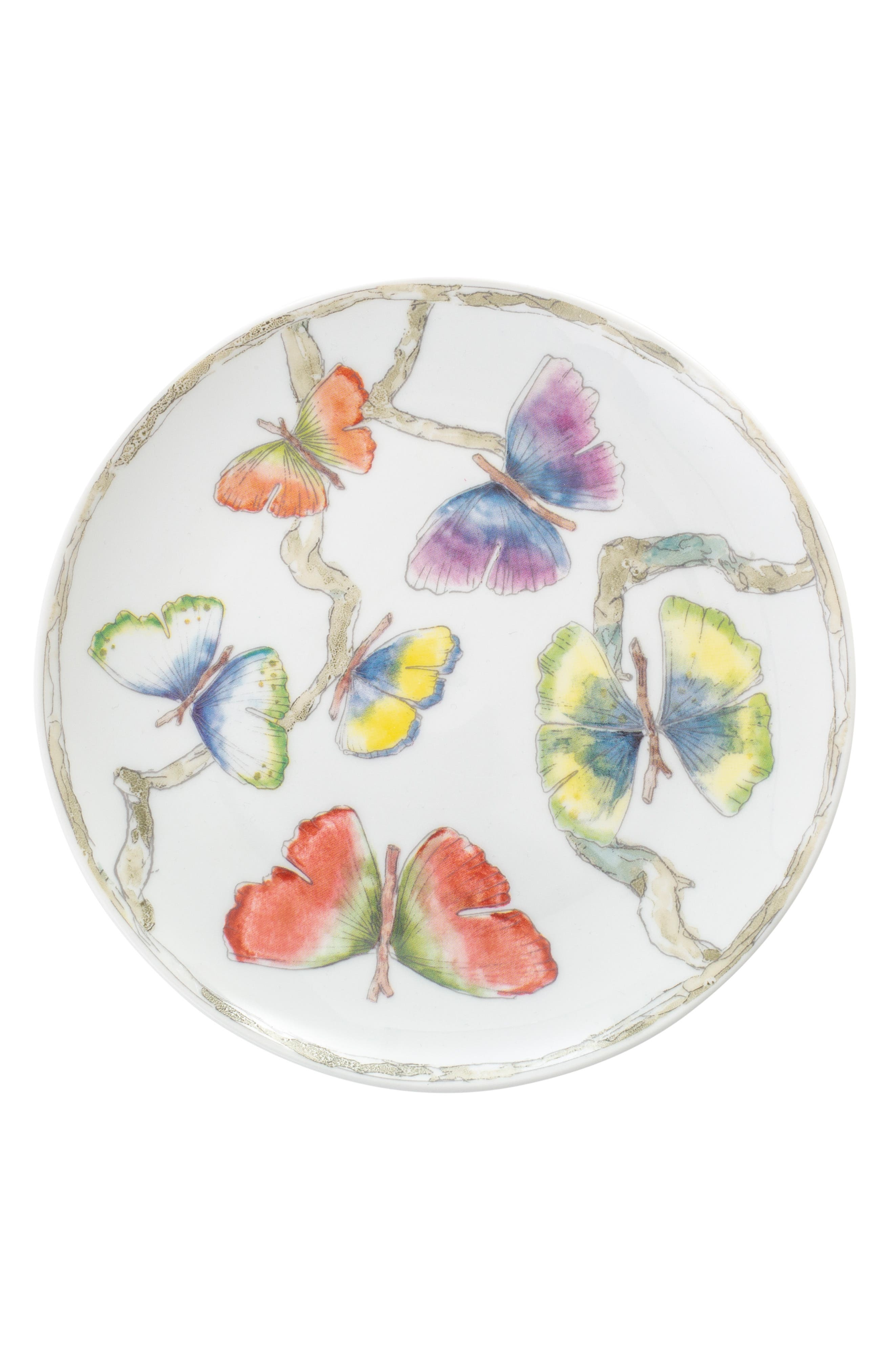 Butterfly Ginkgo Set of 4 Tidbit Plates,                             Main thumbnail 1, color,                             WHITE