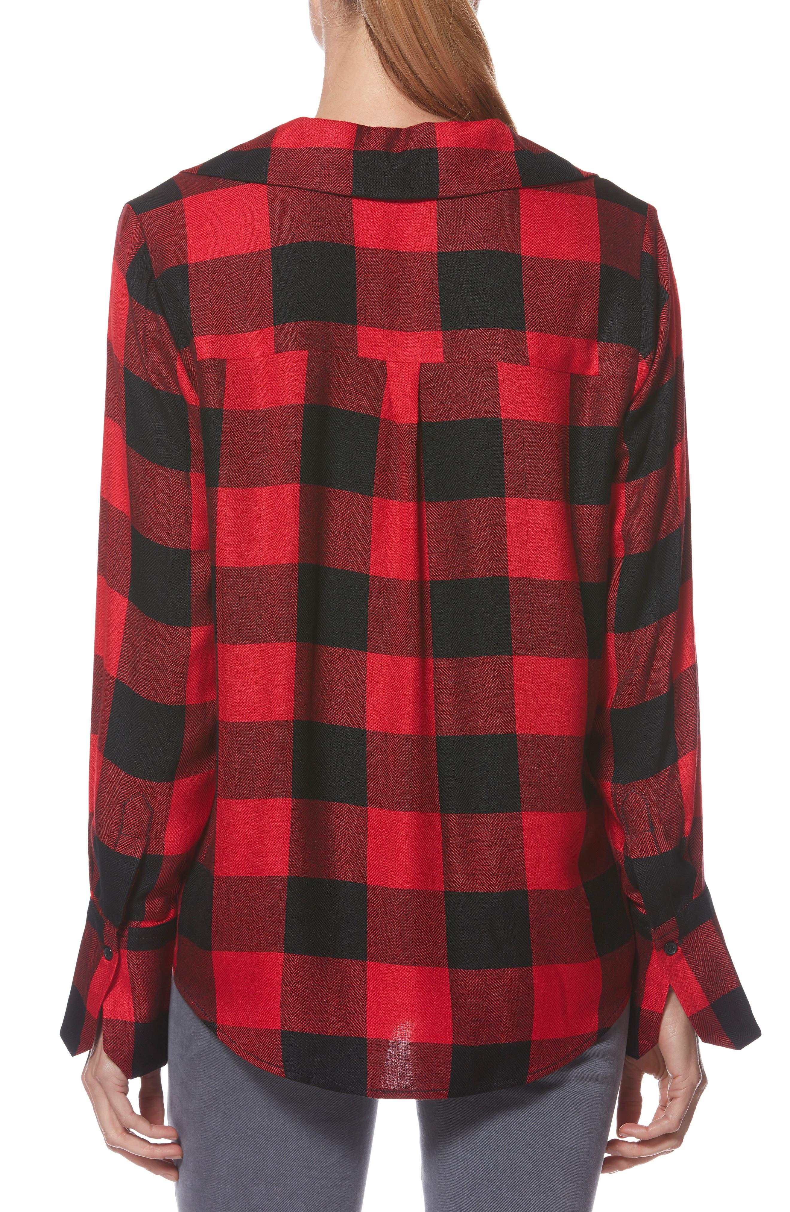 PAIGE,                             Elora Shirt,                             Alternate thumbnail 2, color,                             TRUE RED / BLACK