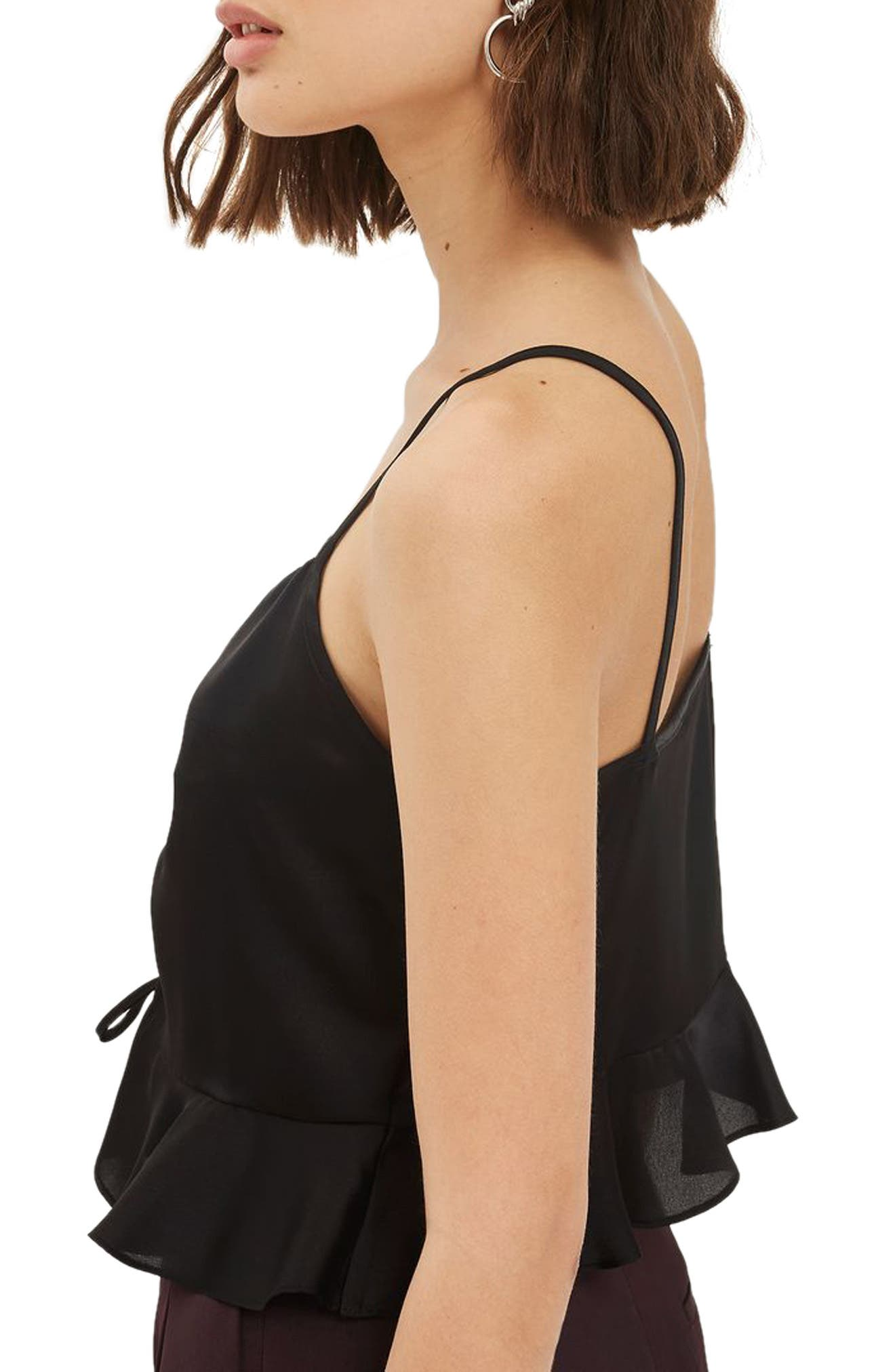 Ruby Ruched Satin Camisole Top,                             Alternate thumbnail 2, color,                             001