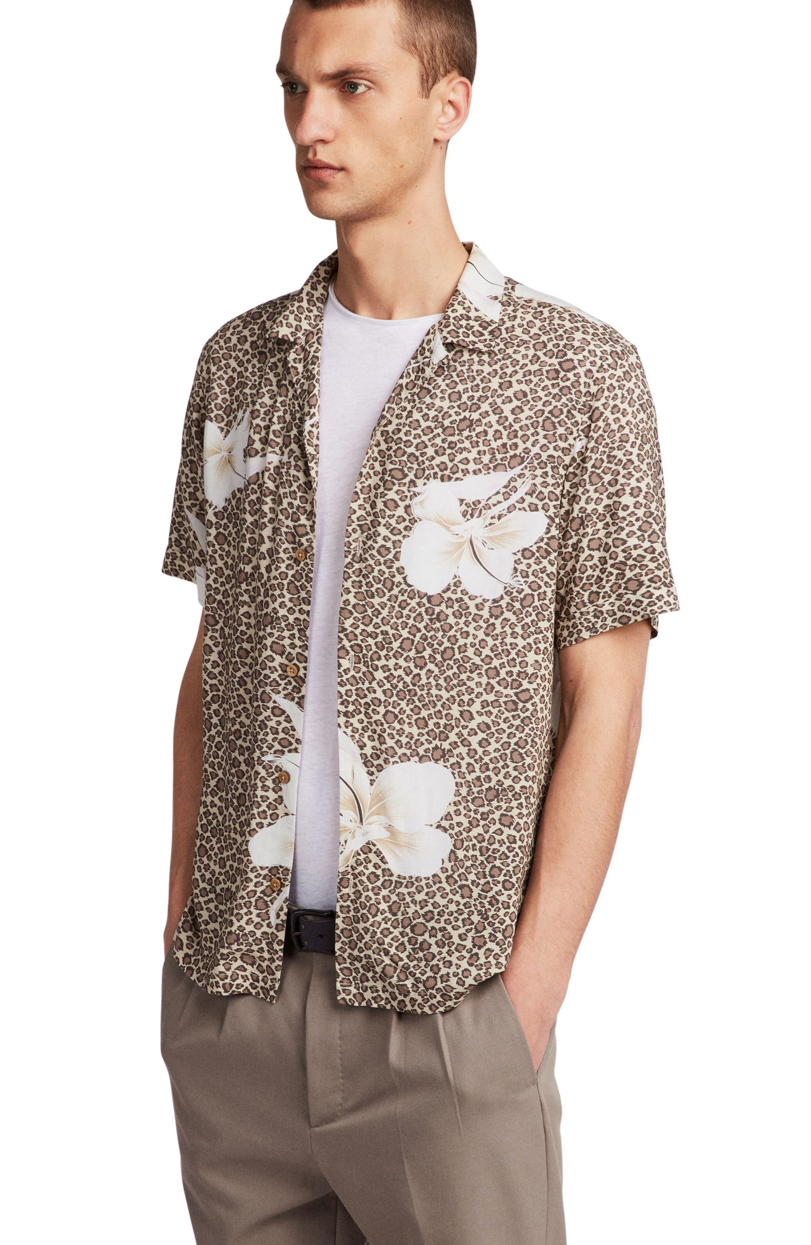 Kuhi Regular Fit Short Sleeve Sport Shirt,                             Alternate thumbnail 4, color,                             SAND