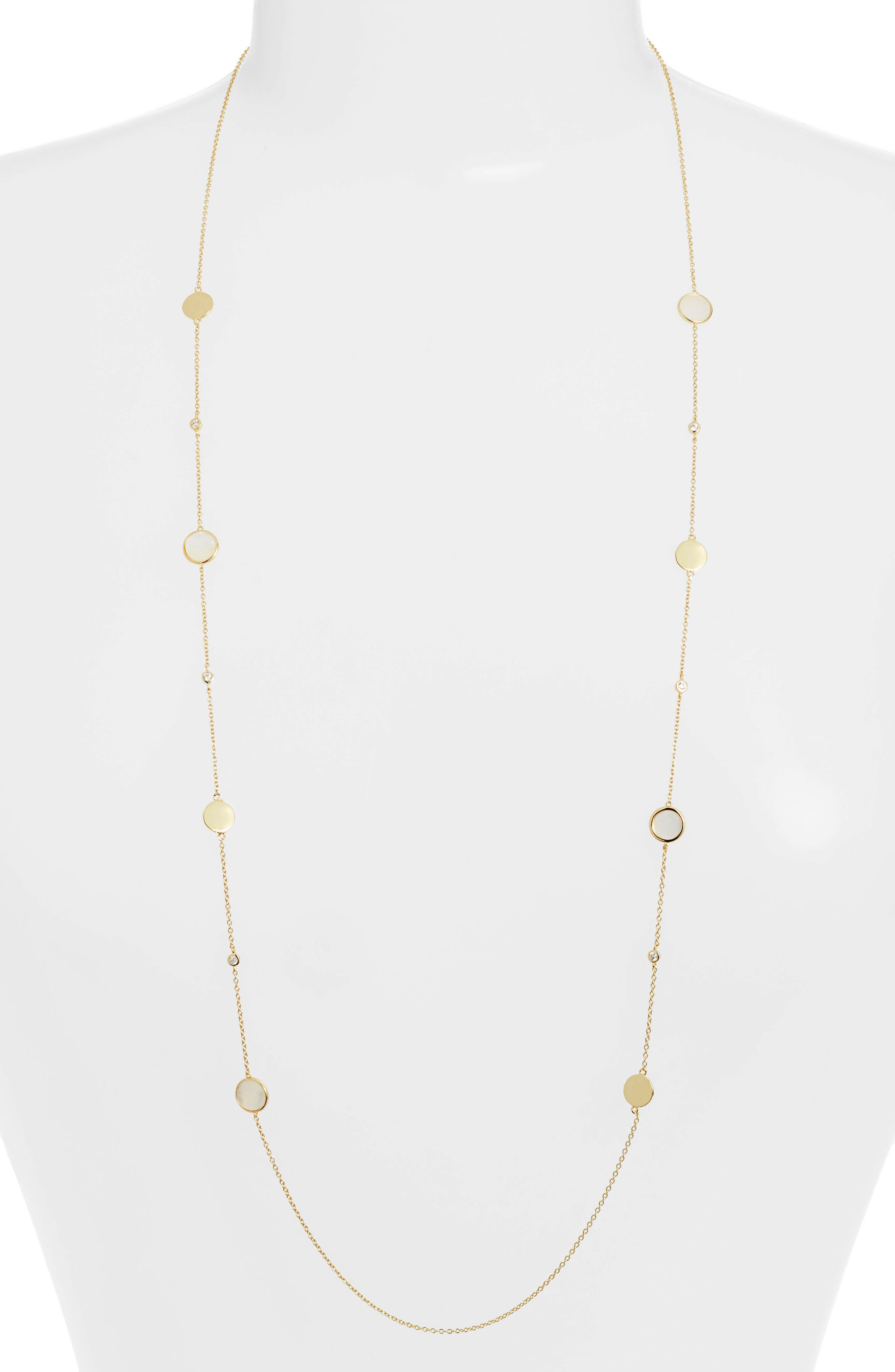 Mother of Pearl Station Necklace, Main, color, MOTHER OF PEARL/ GOLD