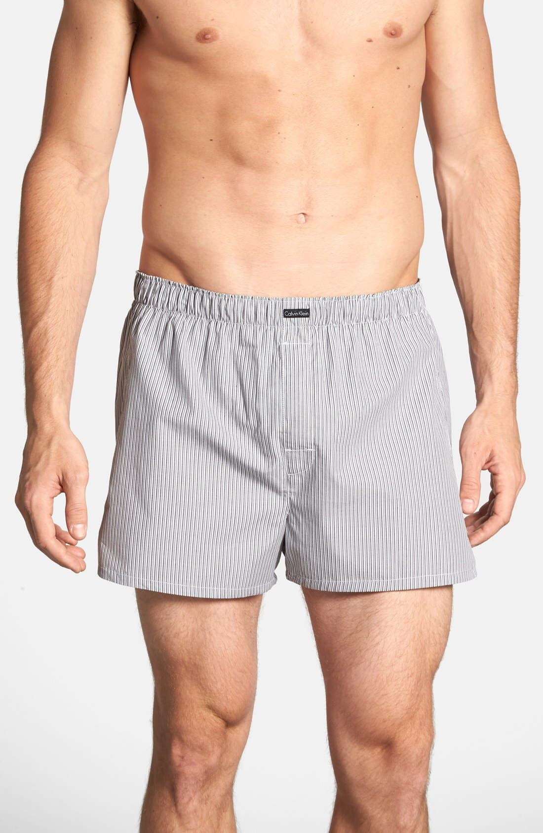 CALVIN KLEIN 'Classic Fit' Woven Boxers, Main, color, 002