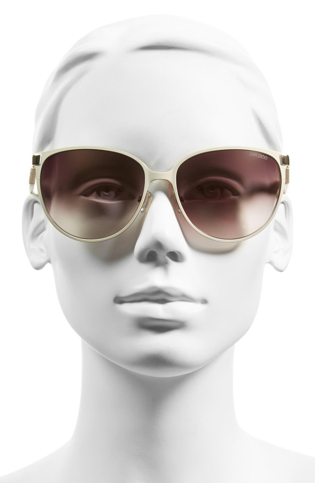 'Posies' 60mm Cat Eye Sunglasses,                             Alternate thumbnail 4, color,                             IVORY