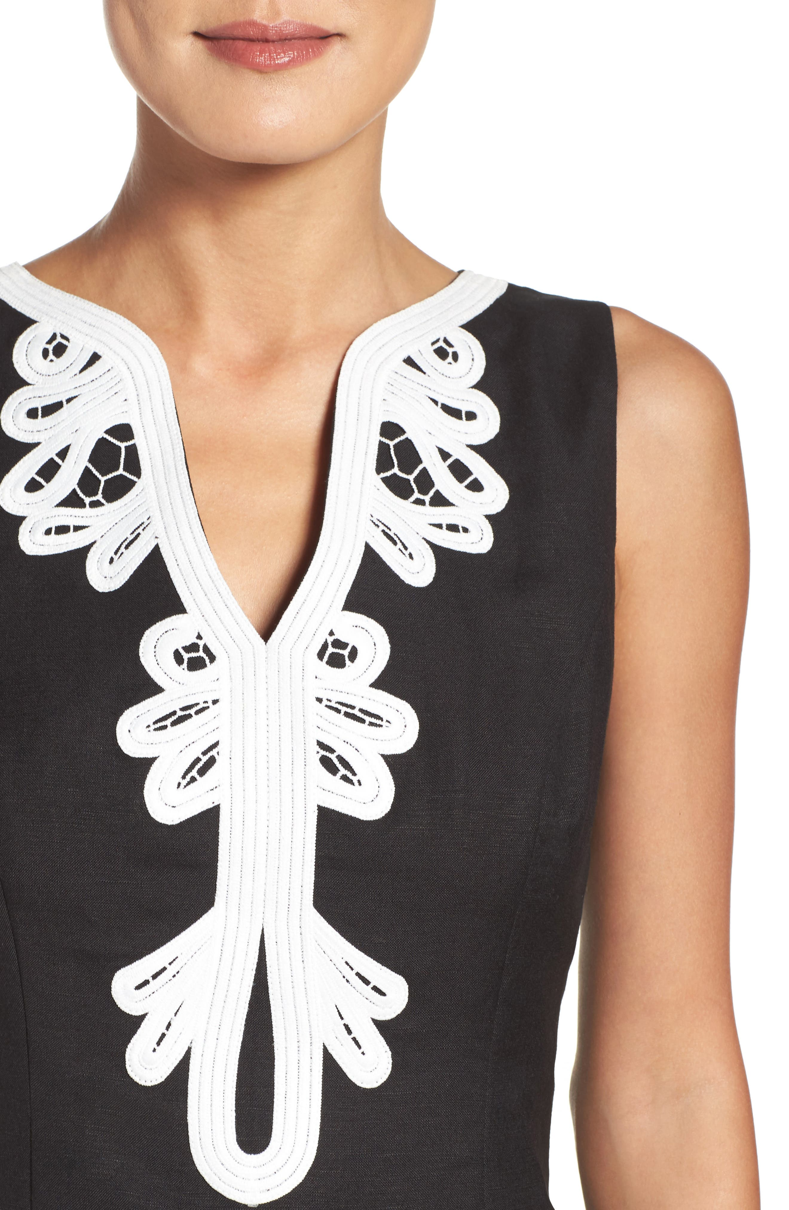 Embroidered Neck Sheath Dress,                             Alternate thumbnail 4, color,                             001