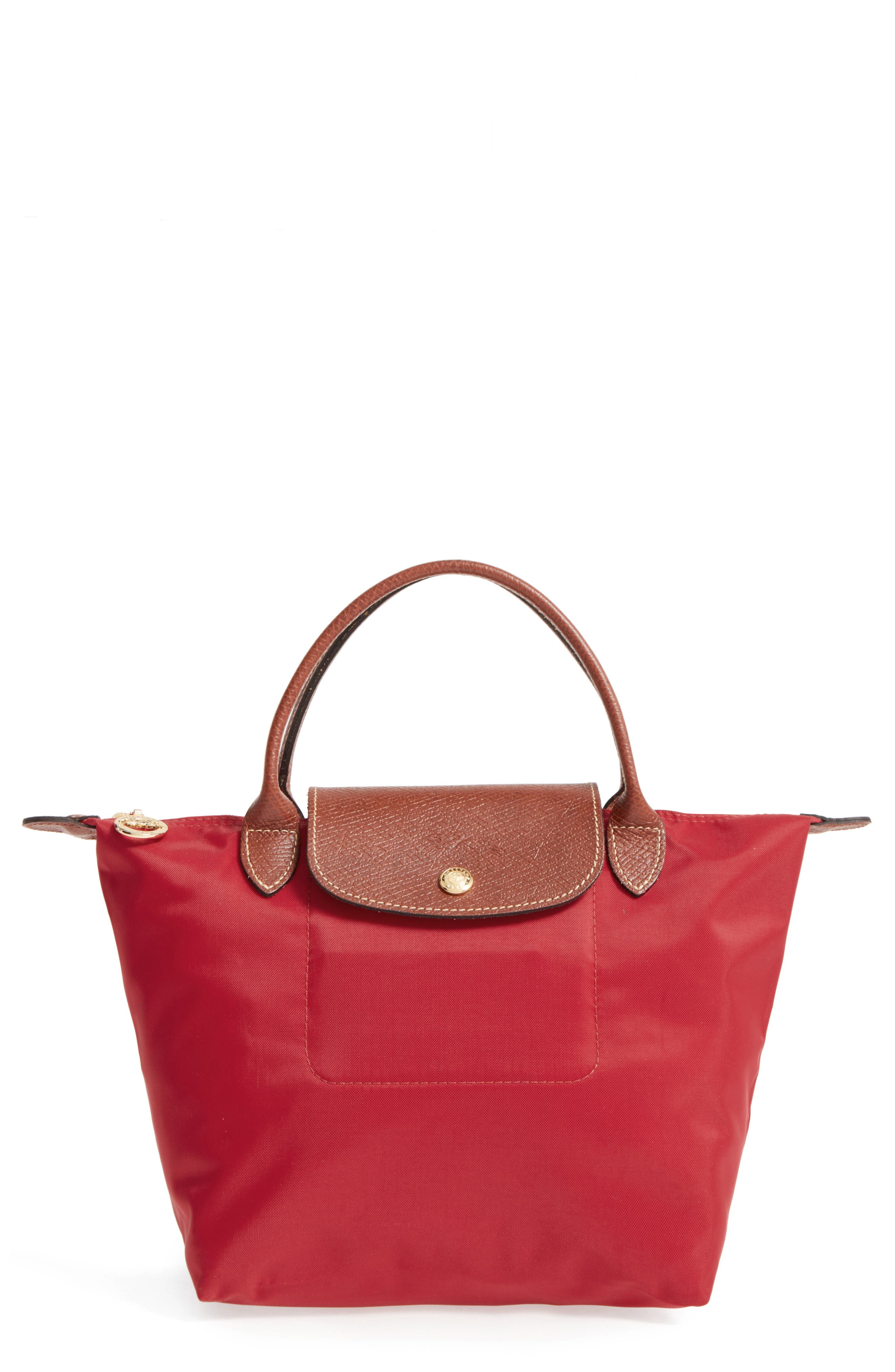 'Small Le Pliage' Top Handle Tote - Red in Deep Red