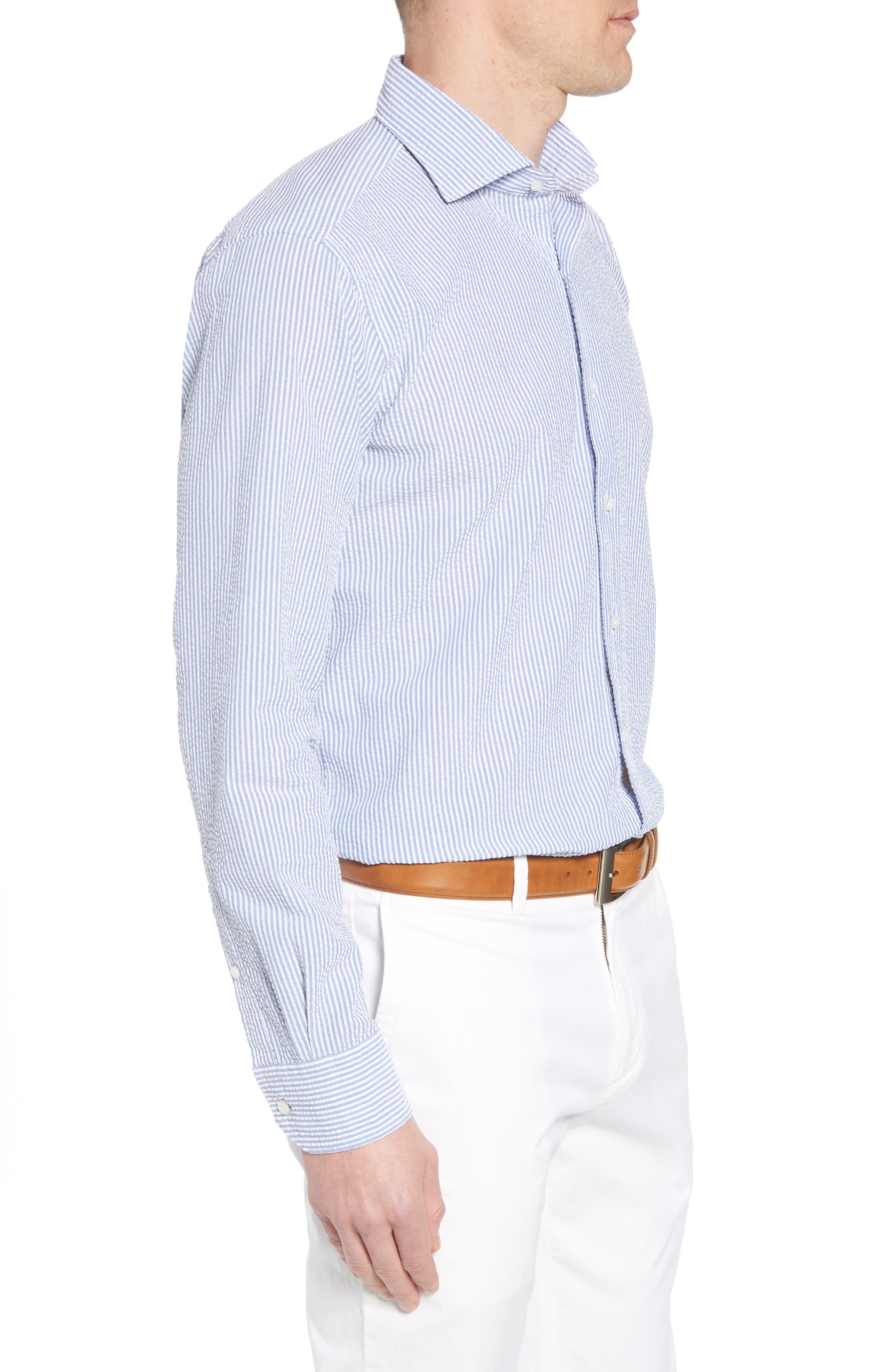Summertime Stripe Seersucker Sport Shirt,                             Alternate thumbnail 3, color,                             BLUE CEILLO
