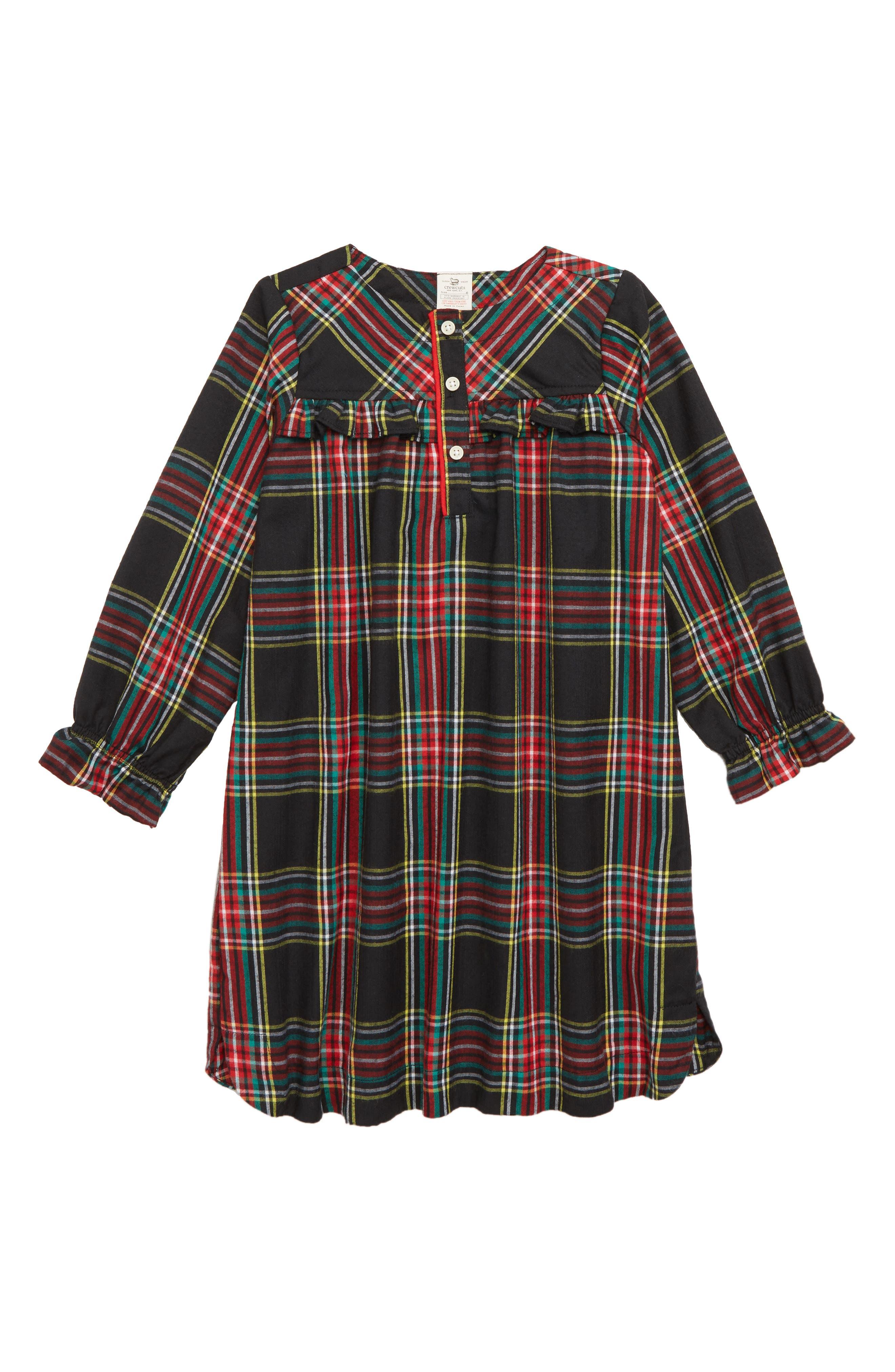 Girls Crewcuts By Jcrew Stewart Black Tartan Flannel Nightgown Size 10  None