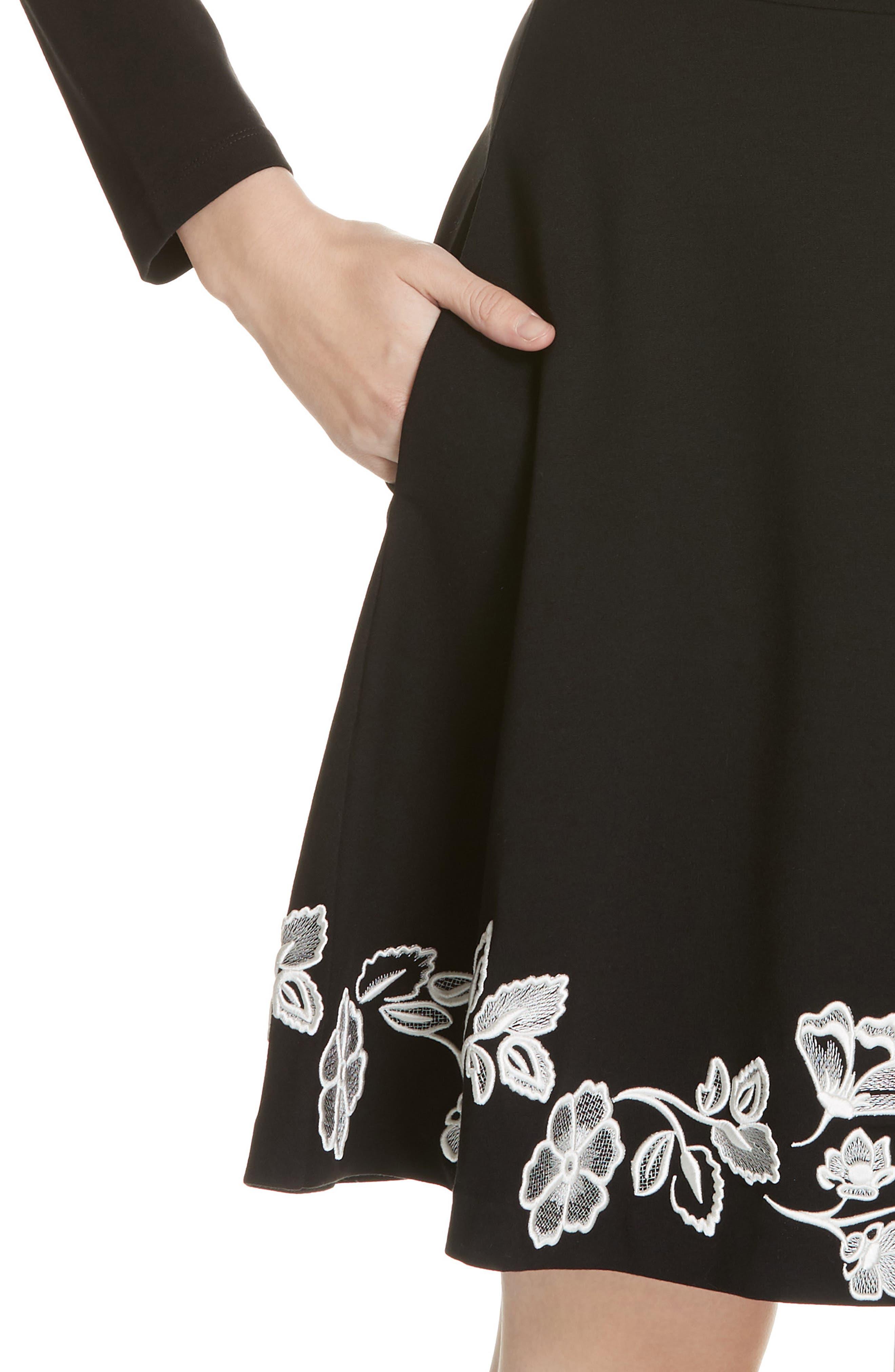 embroidered ponte fit & flare dress,                             Alternate thumbnail 4, color,                             BLACK