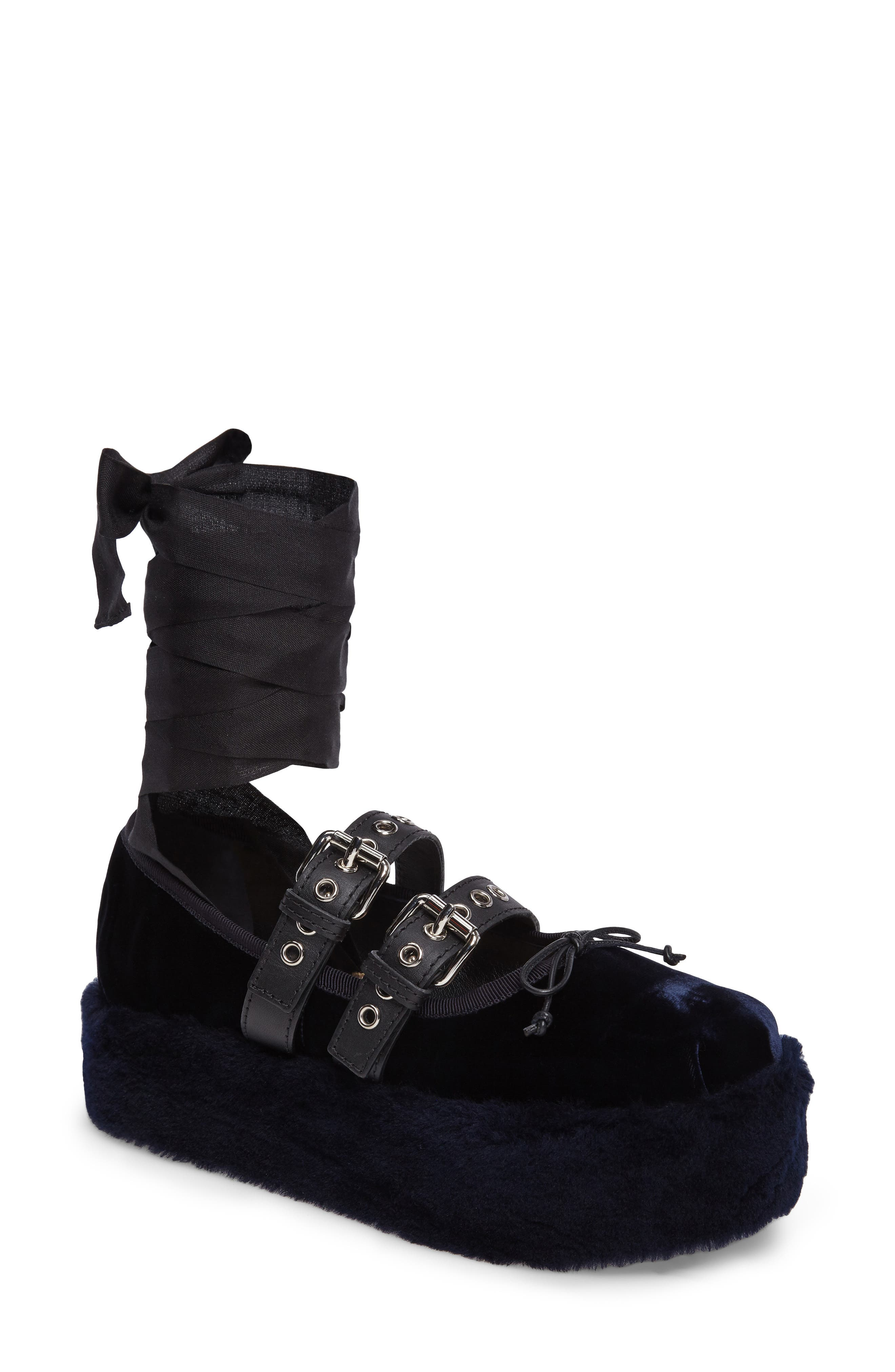 Genuine Shearling Buckle Strap Platform Flat,                             Main thumbnail 1, color,                             400