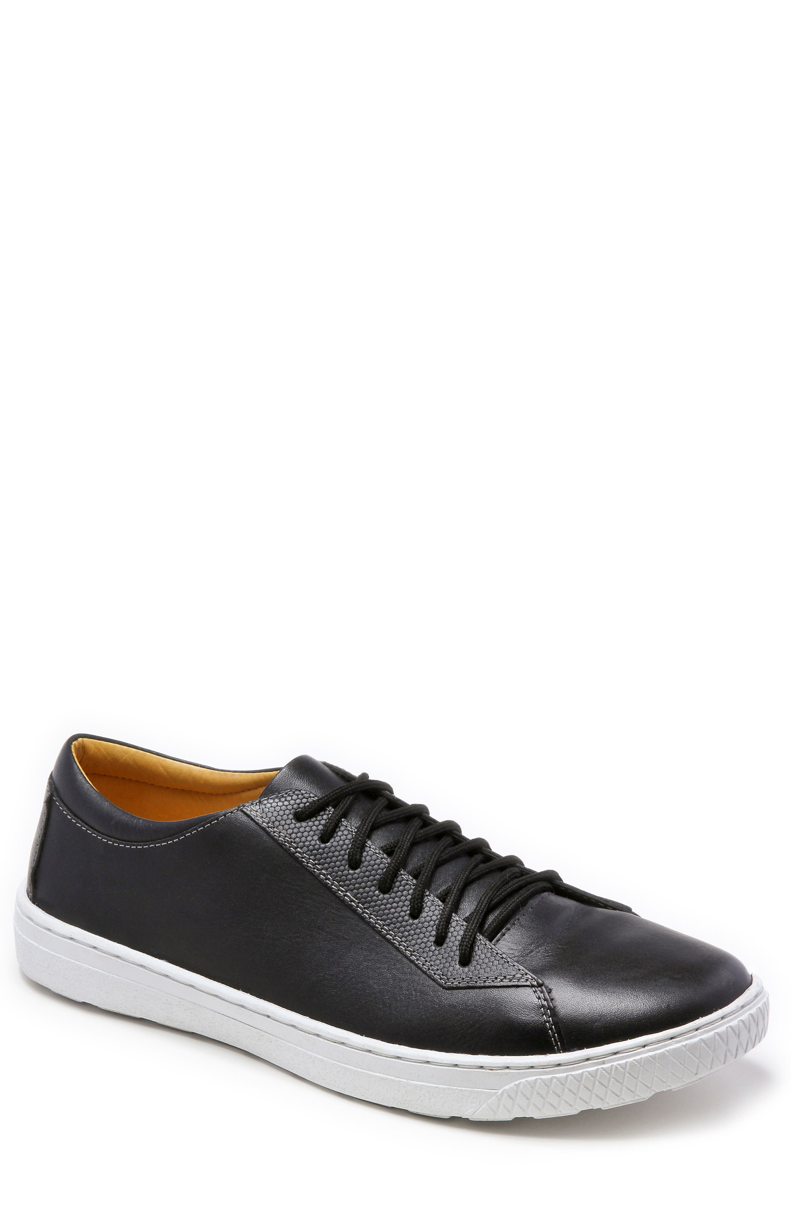 Minh Low Top Sneaker,                         Main,                         color, BLACK LEATHER