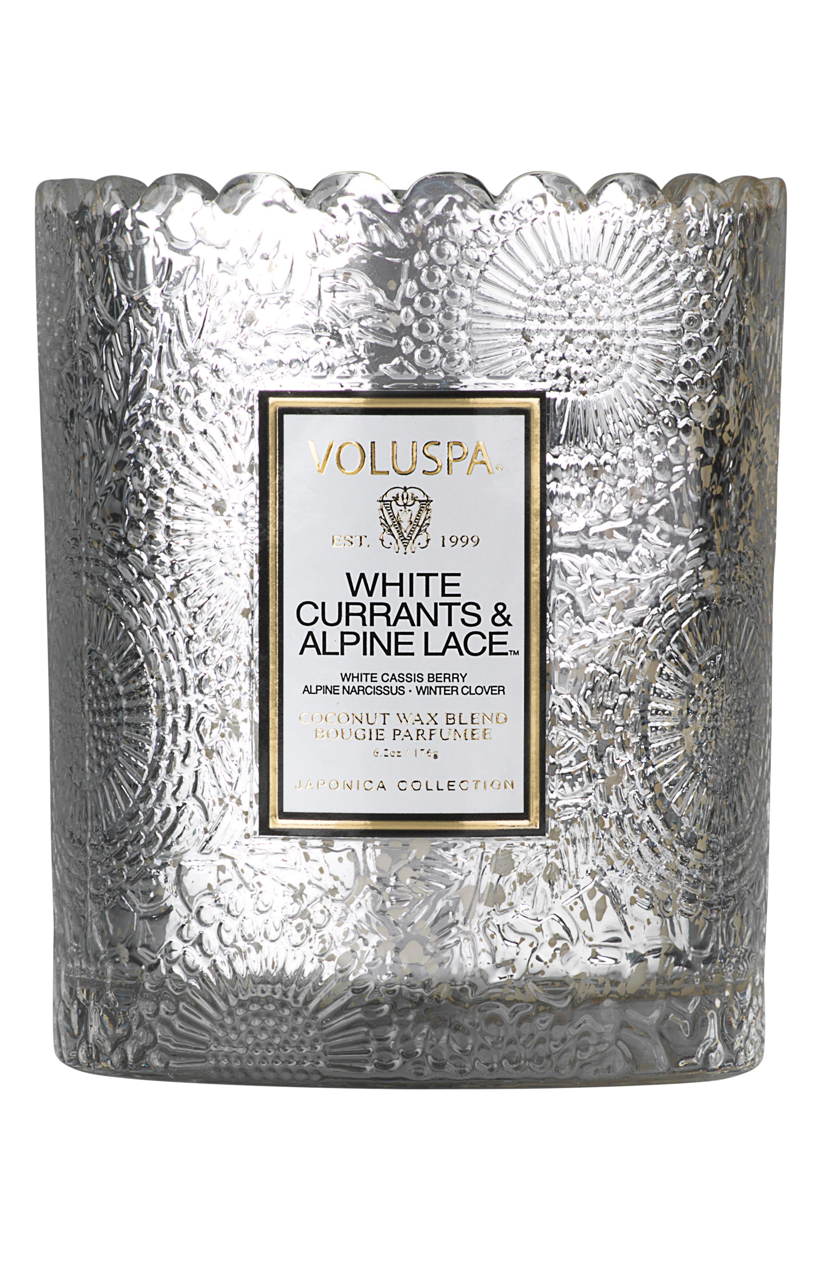 Japonica Scalloped Edge Embossed Glass Candle,                         Main,                         color, WHITE CASSIS/ALPINE LACE