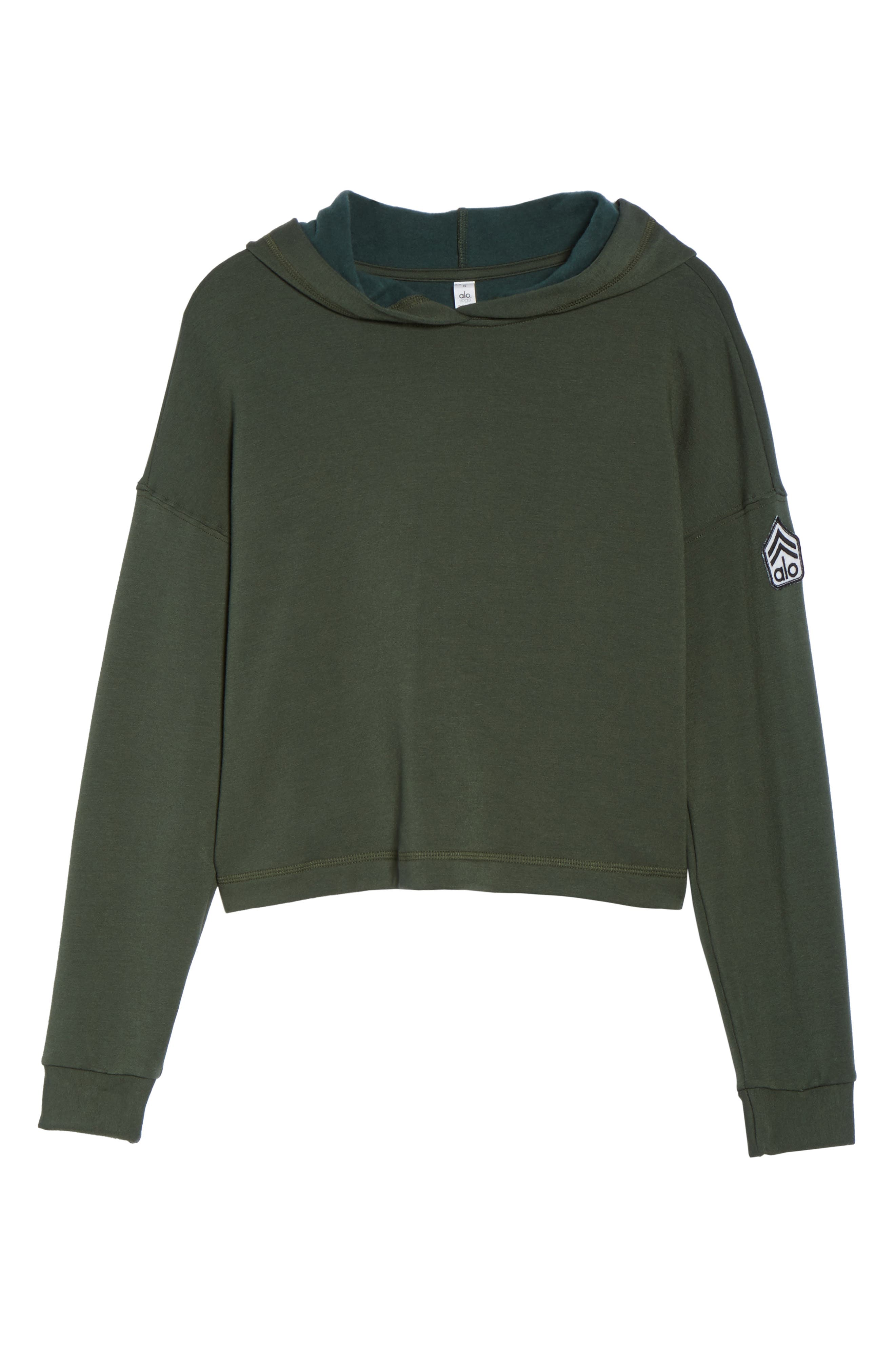 Screenprint French Terry Crop Hoodie,                             Alternate thumbnail 42, color,