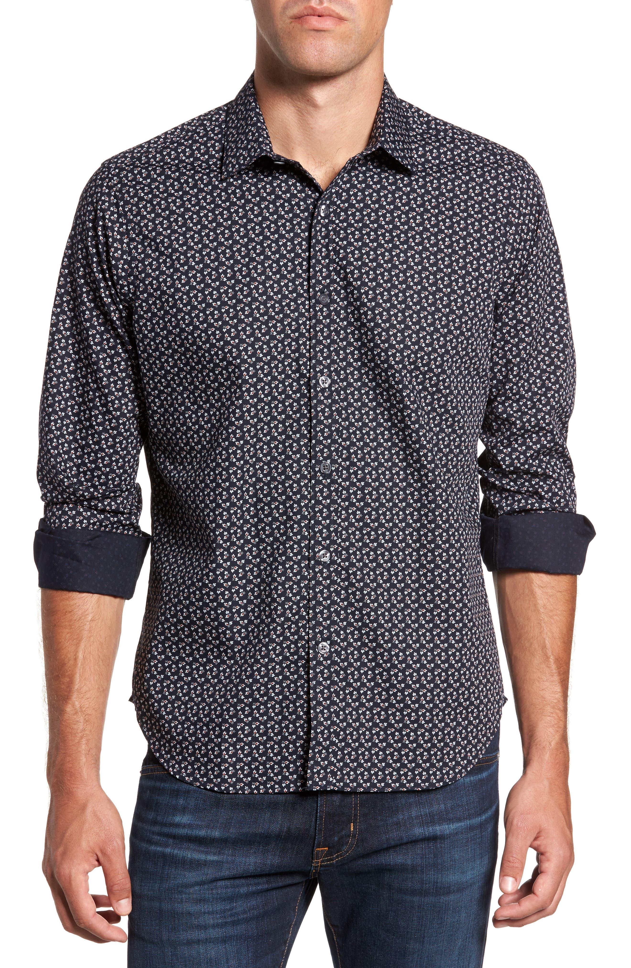 Slim Fit Floral Print Sport Shirt,                         Main,                         color,