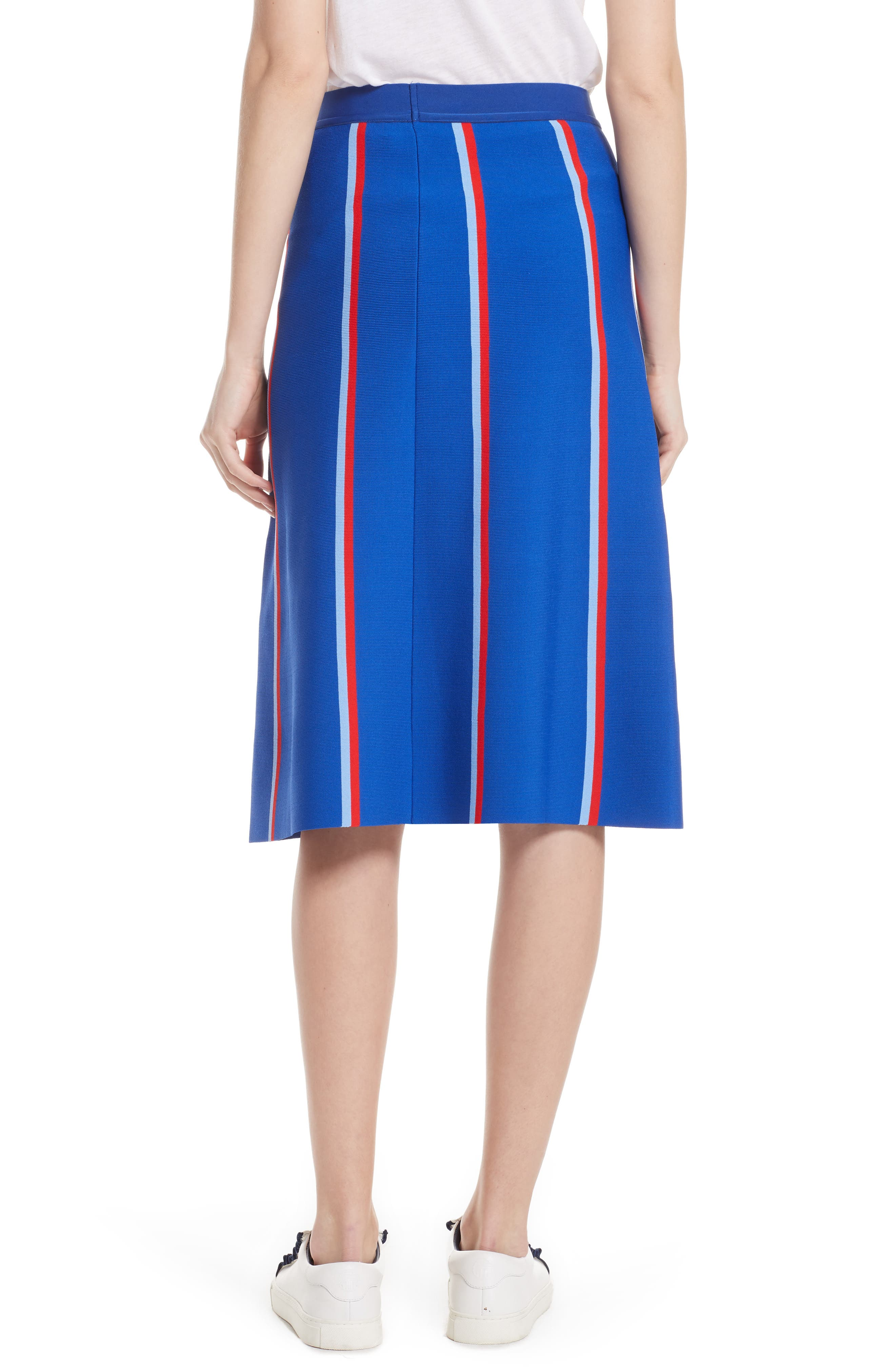 Twin Stripe Tech Knit Skirt,                             Alternate thumbnail 2, color,                             SLALOM BLUE