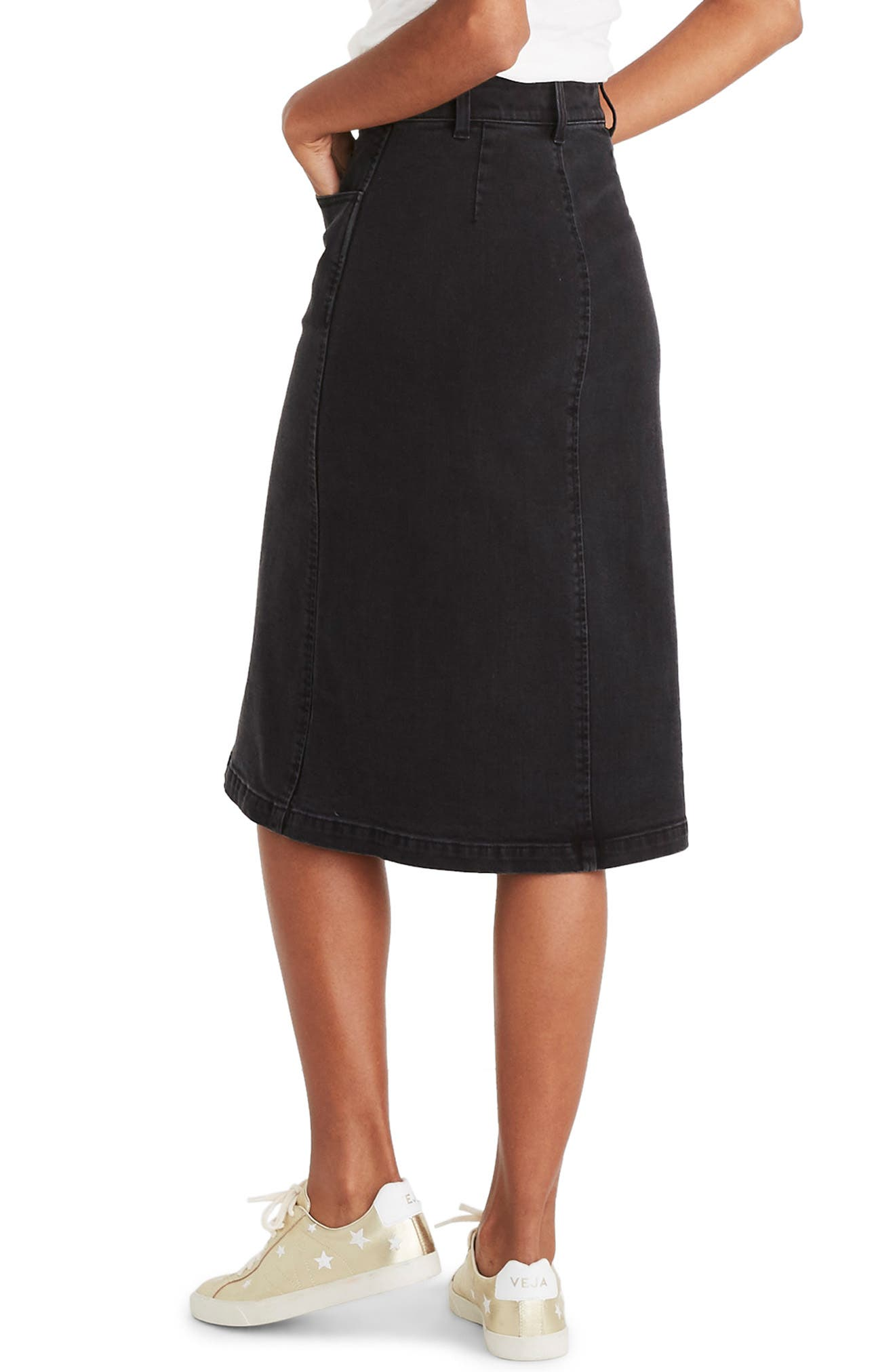 Denim Zip Midi Skirt,                             Alternate thumbnail 2, color,                             LUNAR WASH
