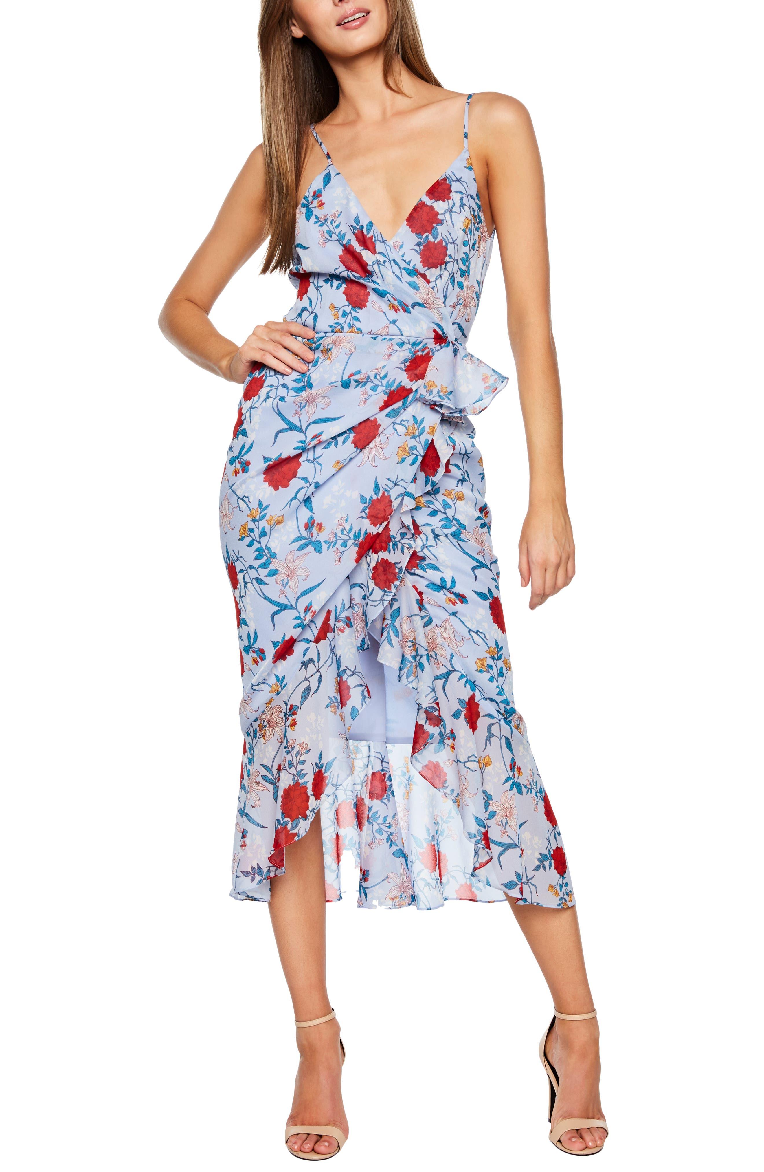 Bardot Elle Floral Georgette Midi Dress, Blue