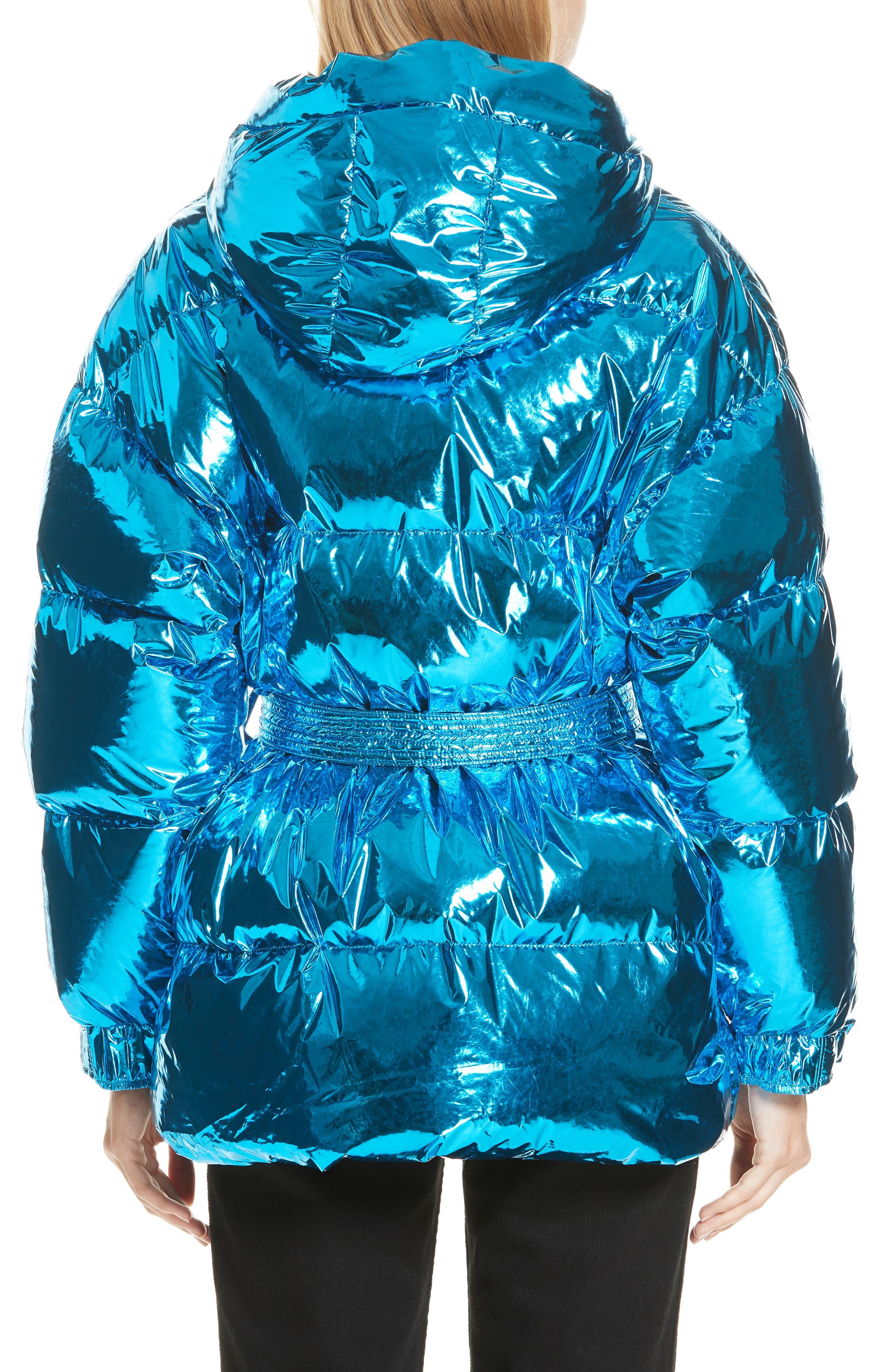 Michelin Hooded Down Puffer Coat,                             Alternate thumbnail 2, color,                             BLUE FOIL