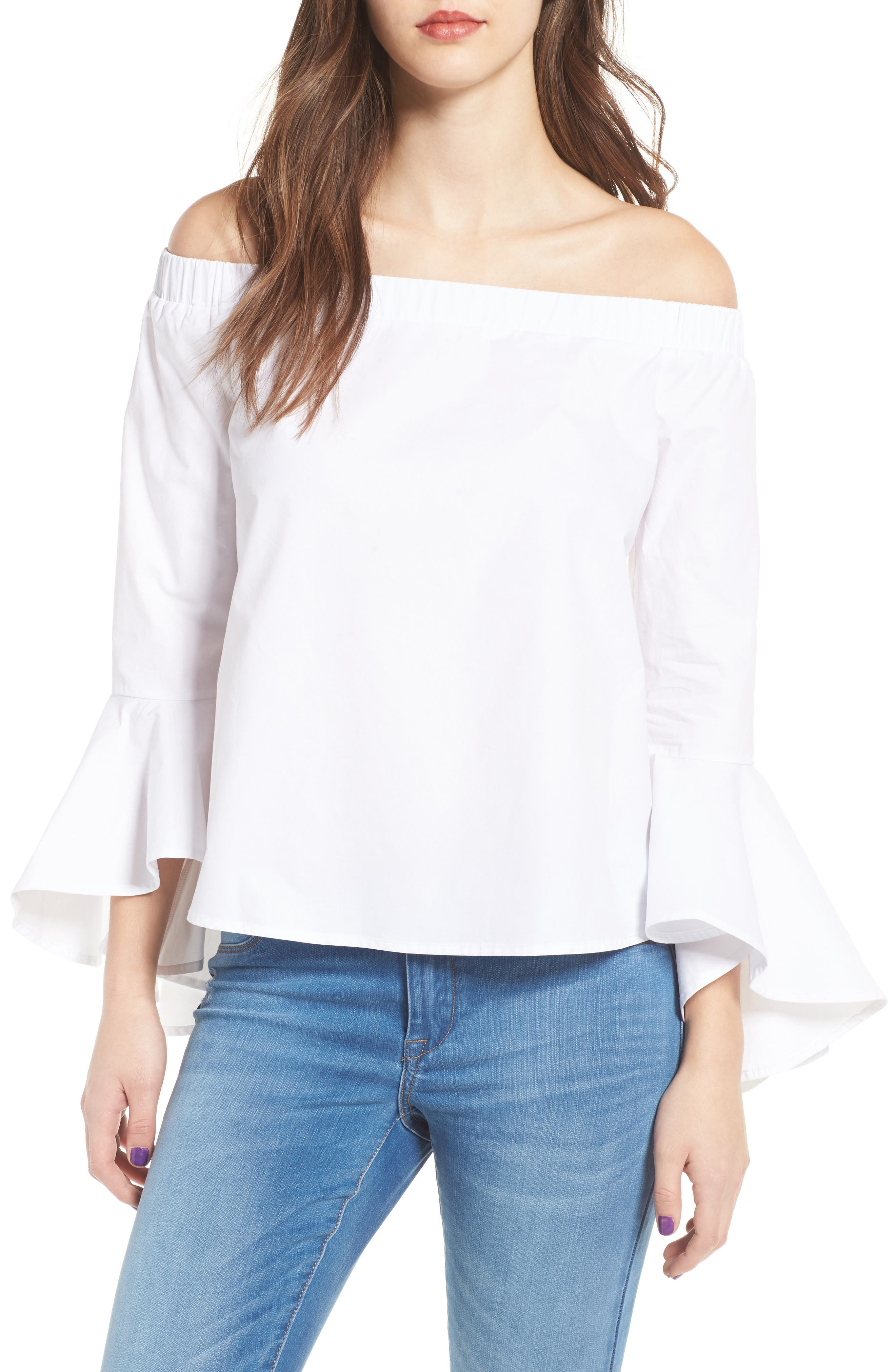 Bell Sleeve Off the Shoulder Blouse,                         Main,                         color, 100