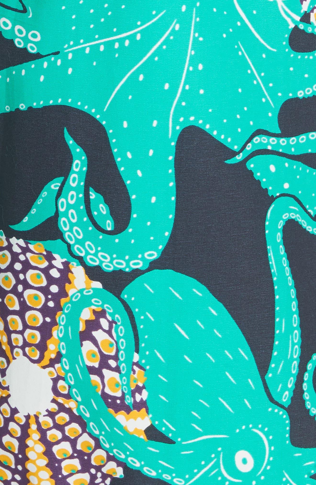 Octopus & Shellfish Print Swim Trunks,                             Alternate thumbnail 5, color,                             NAVY