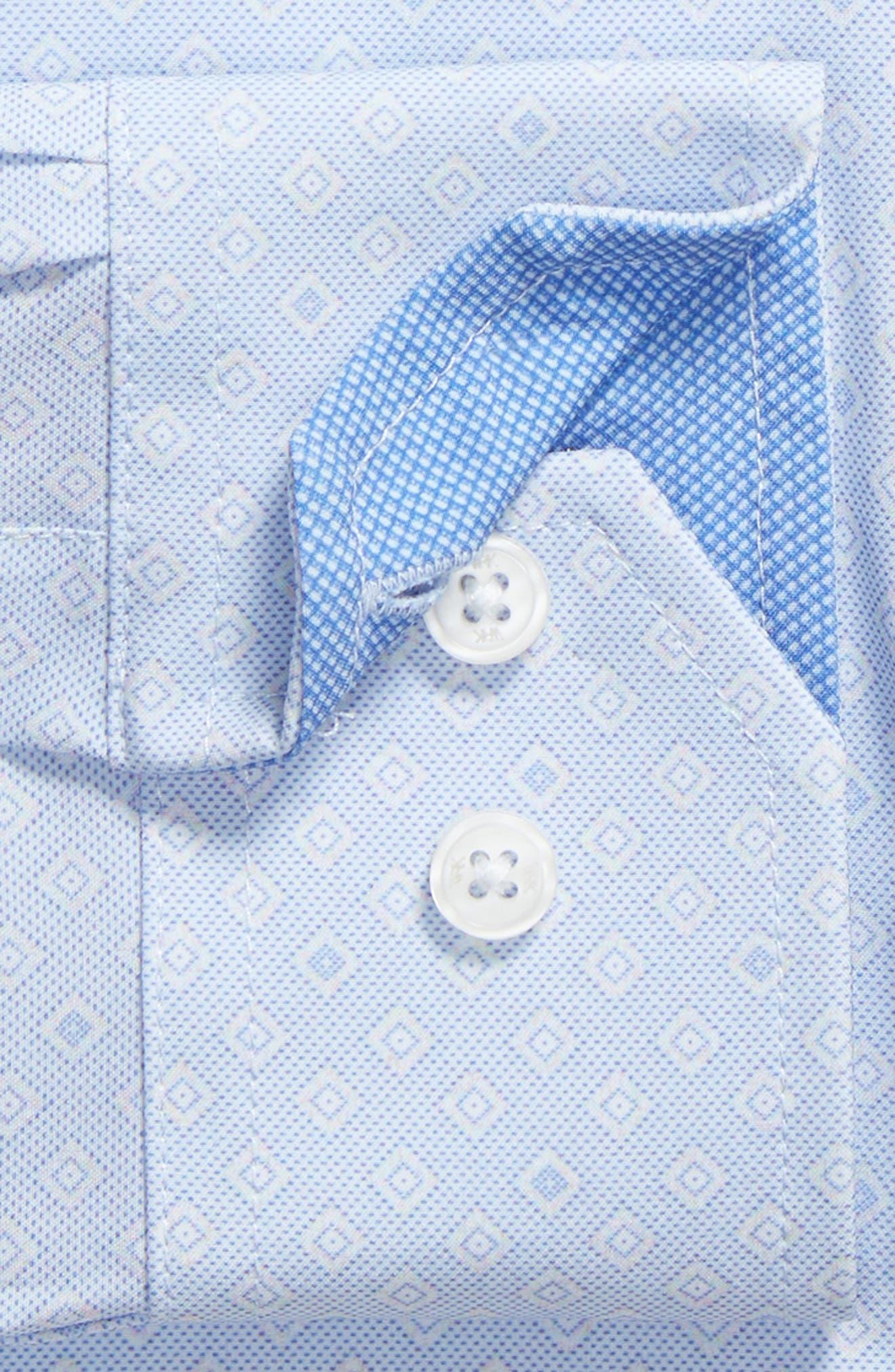 Trim Fit Geometric 4-Way Stretch Dress Shirt,                             Alternate thumbnail 6, color,                             BLUE