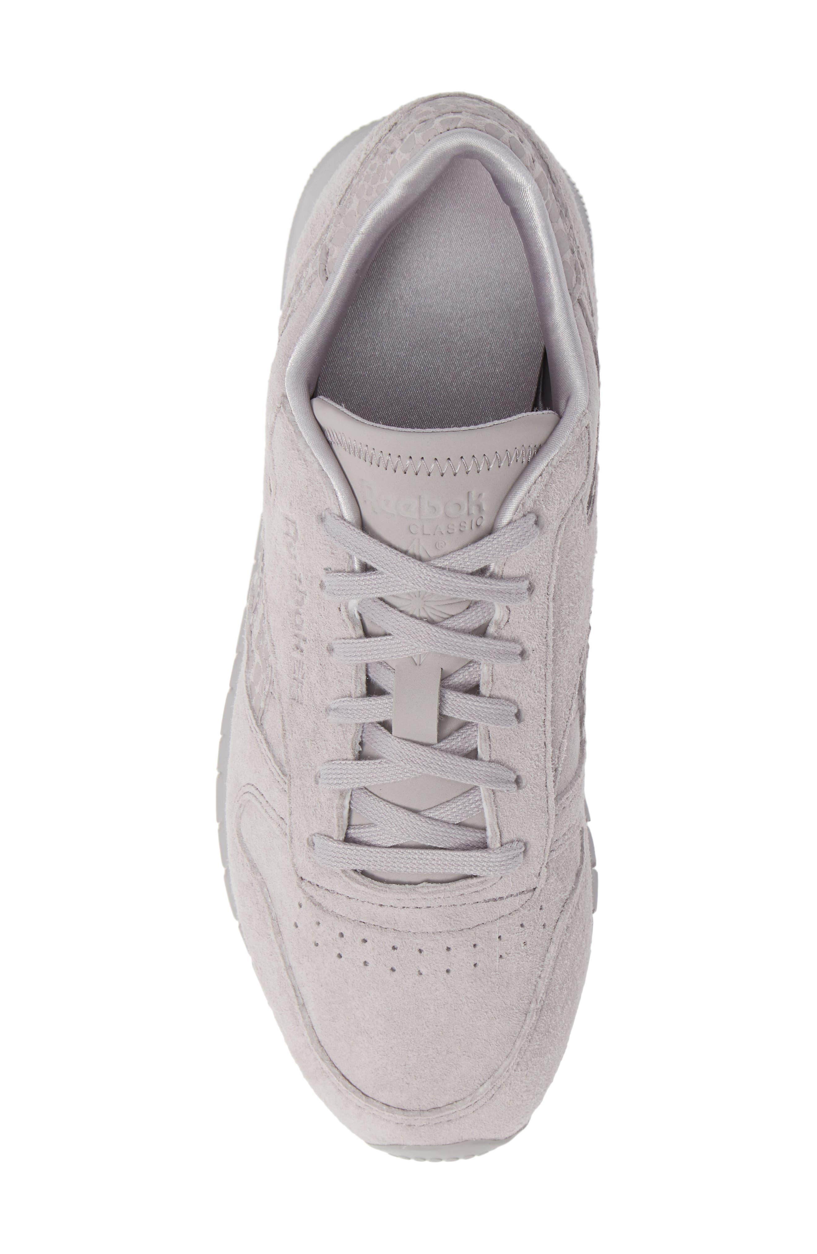 Classic Leather Sneaker,                             Alternate thumbnail 5, color,                             WHISPER GREY