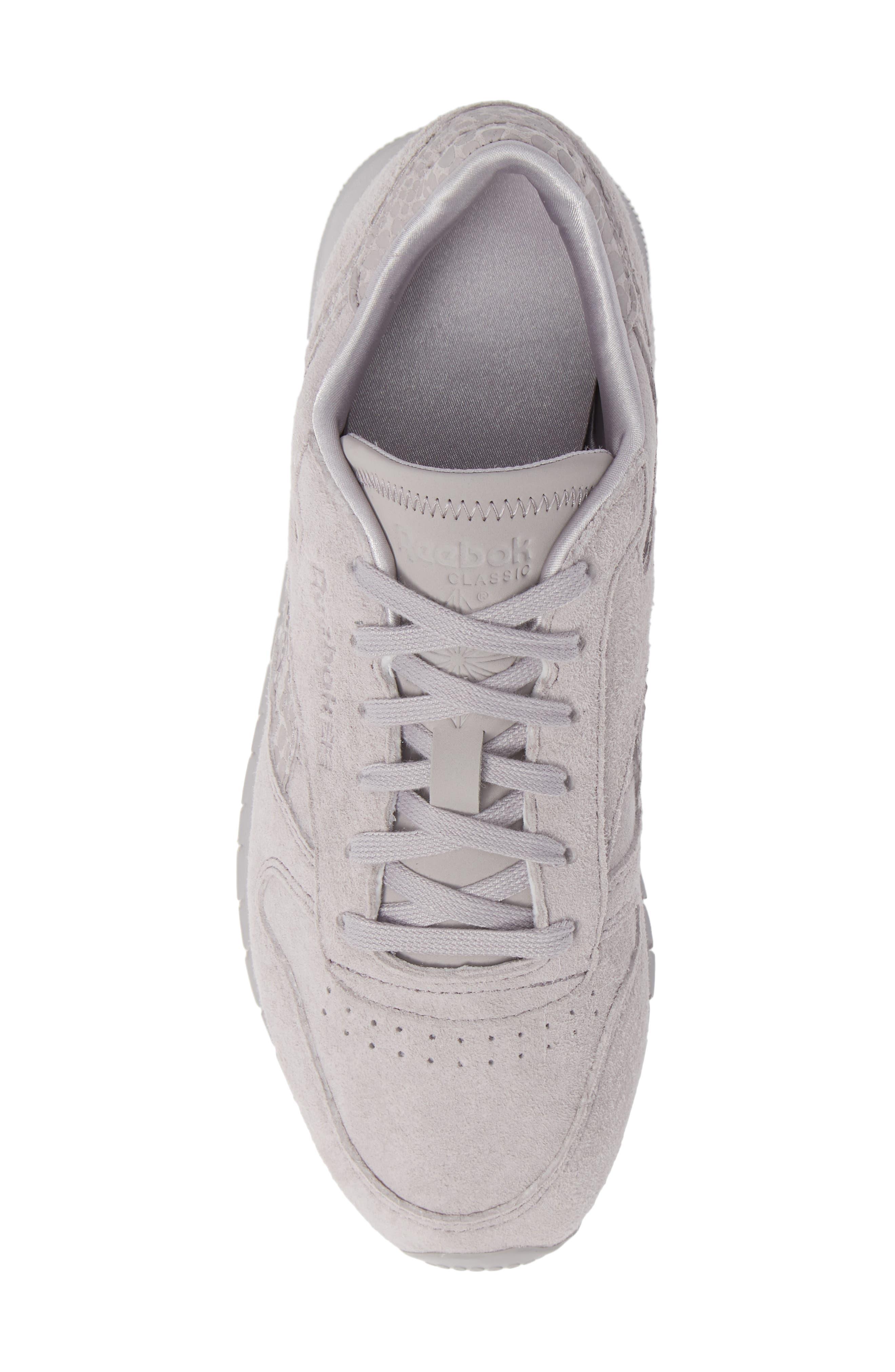 REEBOK,                             Classic Leather Sneaker,                             Alternate thumbnail 5, color,                             WHISPER GREY