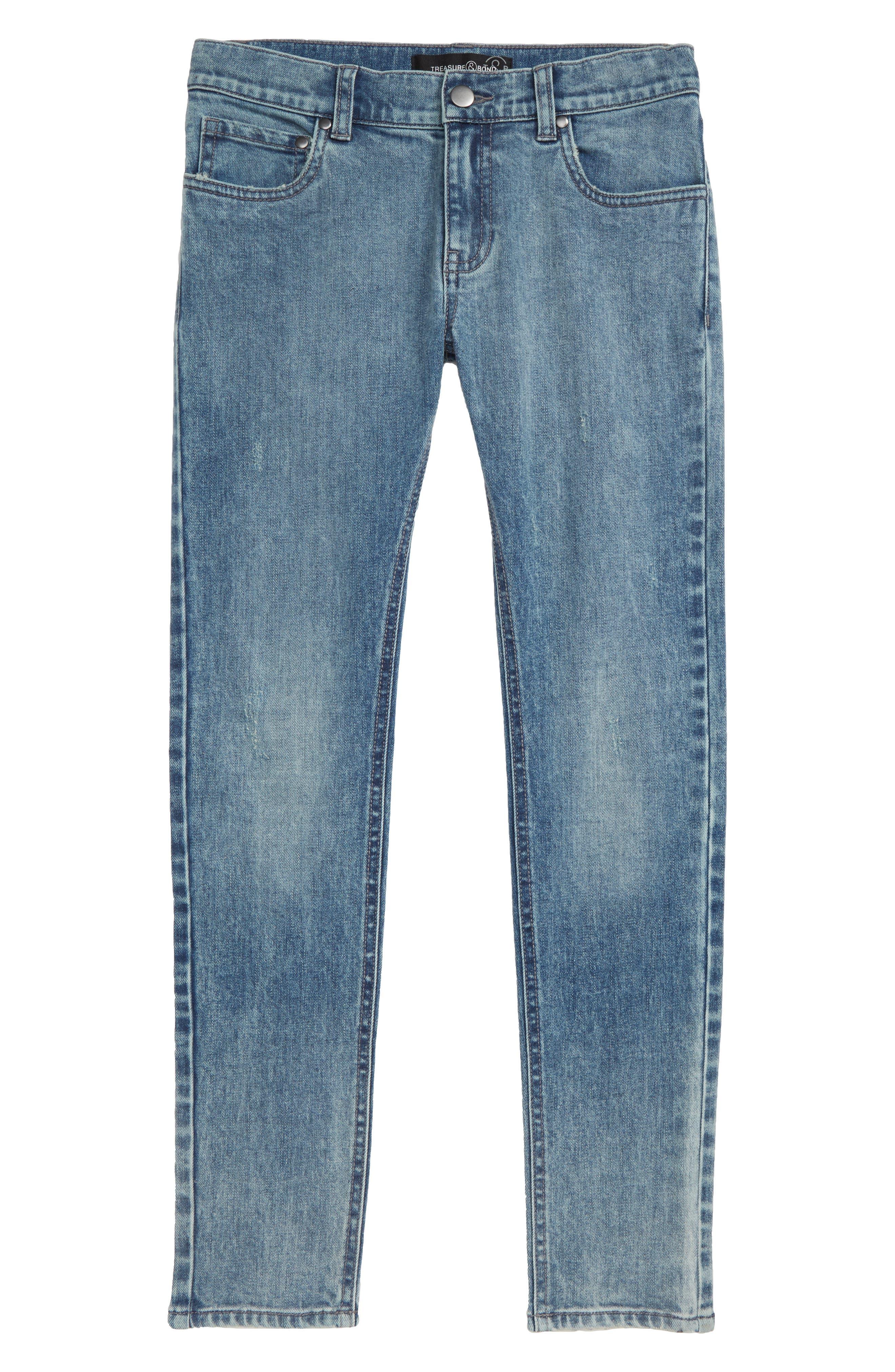 Treaure & Bond Light Wash Jeans,                             Main thumbnail 1, color,                             ACID FADE WASH