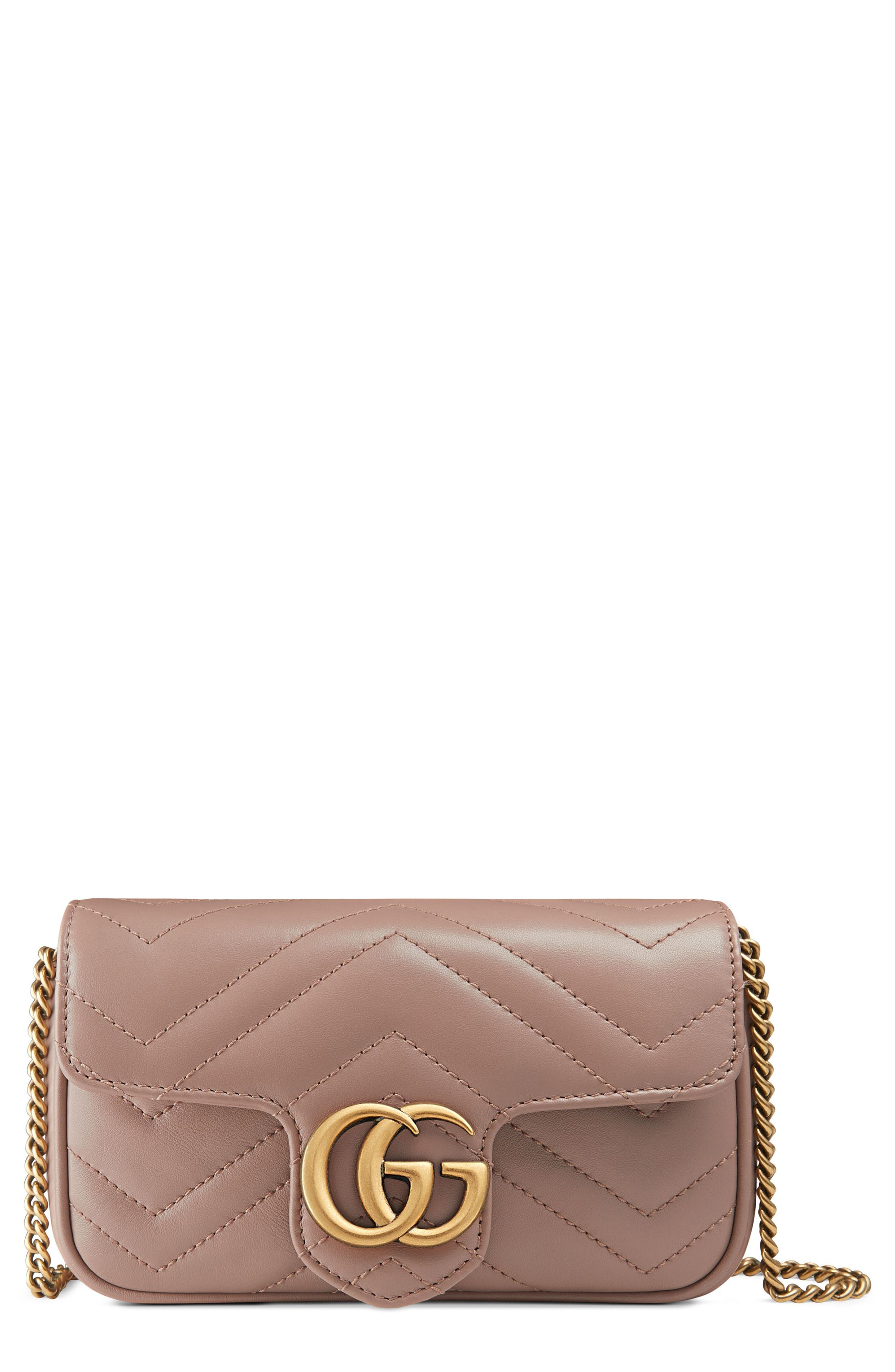 Supermini GG Marmont 2.0 Matelassé Leather Shoulder Bag,                             Main thumbnail 1, color,                             PORCELAIN ROSE
