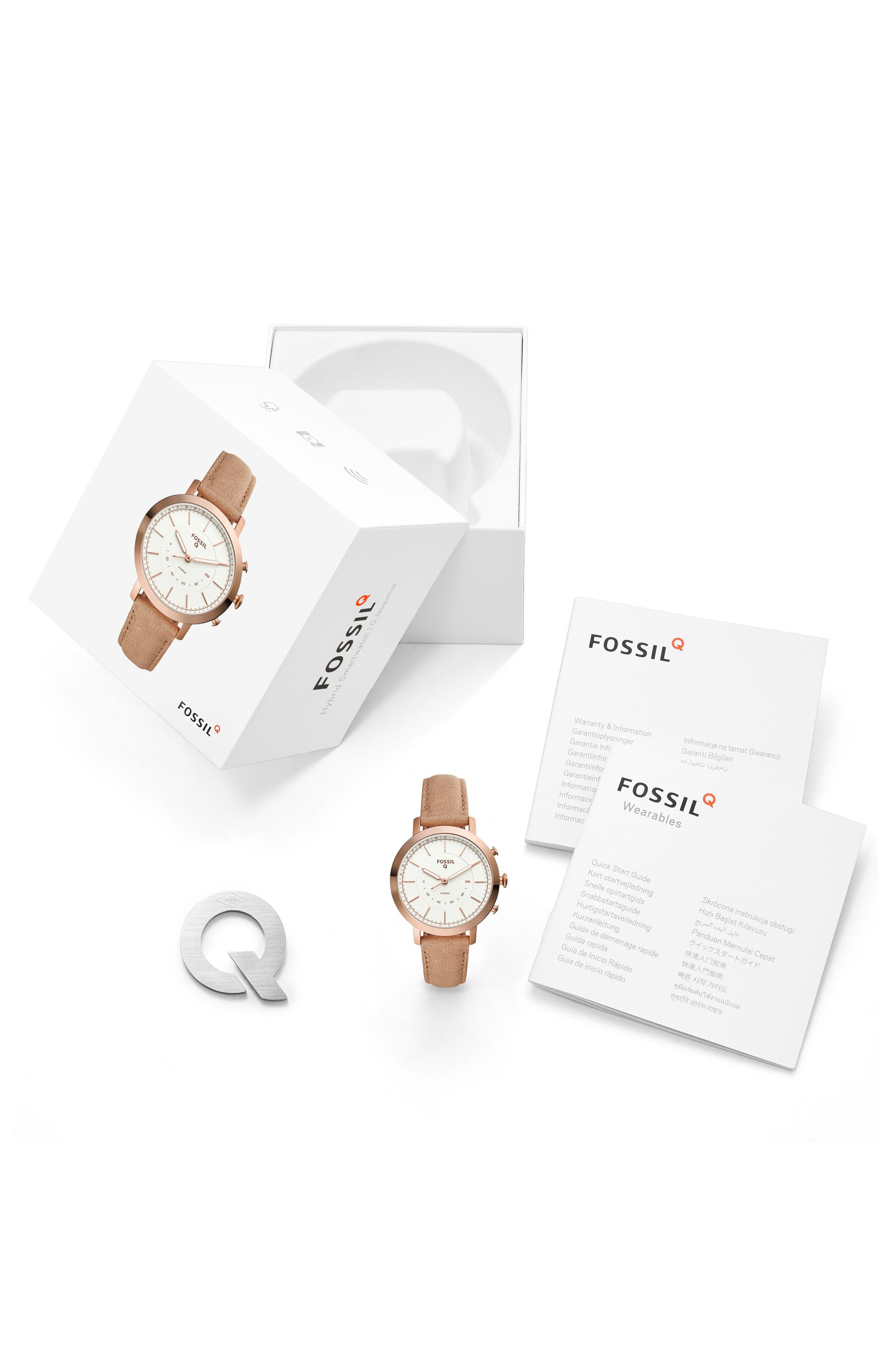 Neely Leather Strap Hybrid Smart Watch, 36mm,                             Alternate thumbnail 3, color,                             BEIGE/ WHITE/ ROSE GOLD