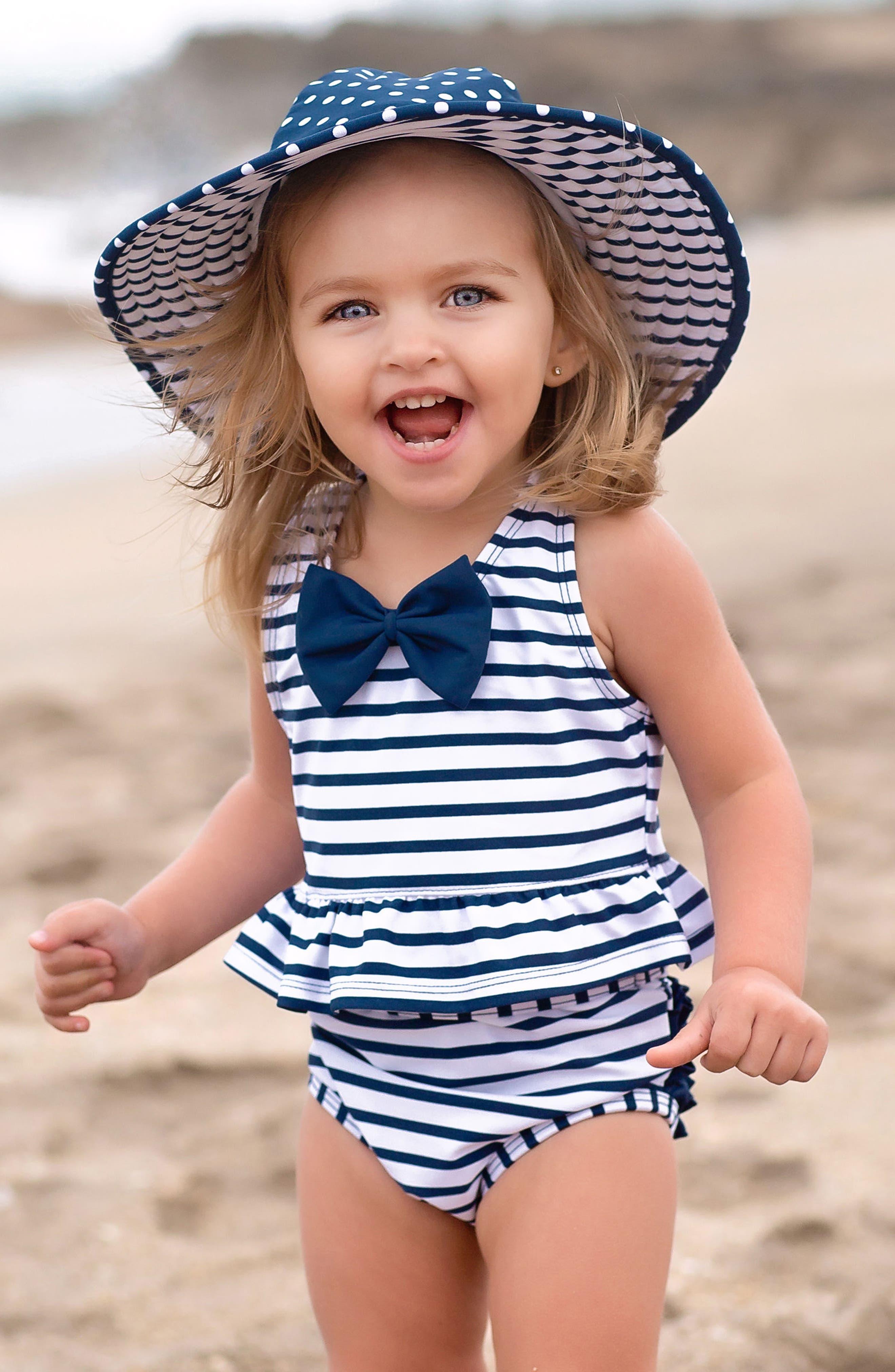 Stripe Peplum Two-Piece Tankini Swimsuit & Reversible Hat Set,                             Alternate thumbnail 3, color,                             NAVY