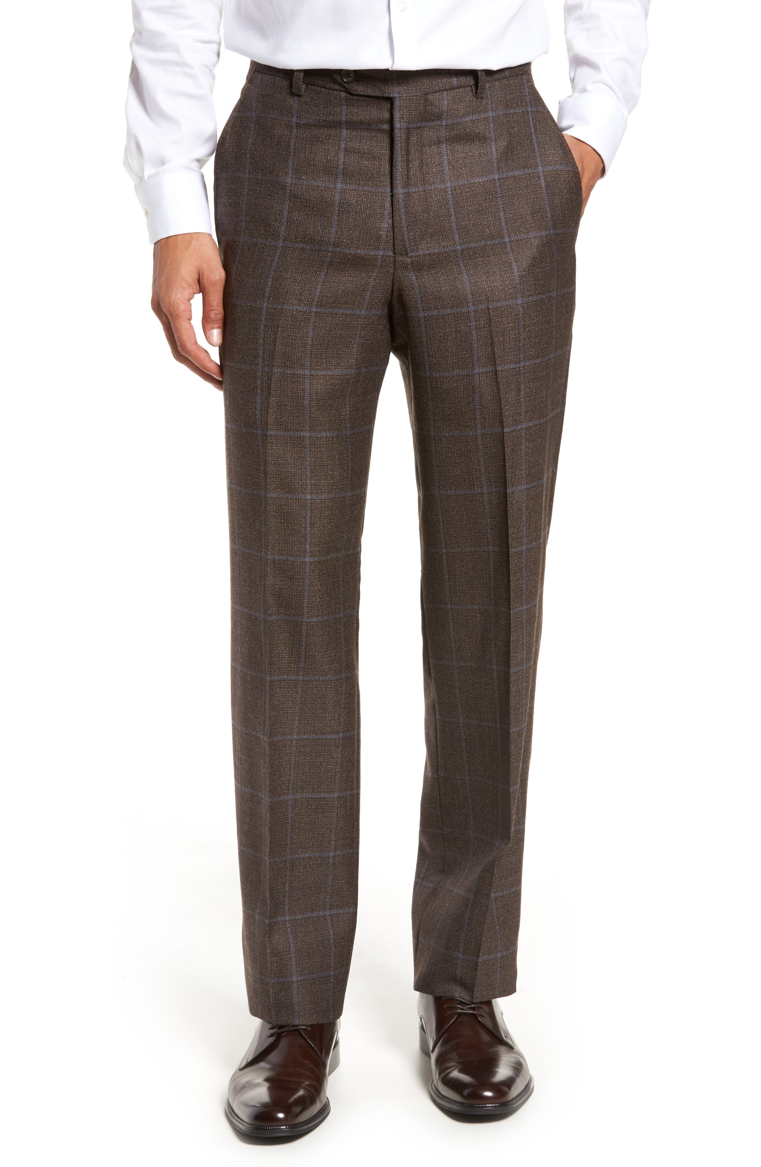 Flat Front Windowpane Wool Trousers,                         Main,                         color, 200