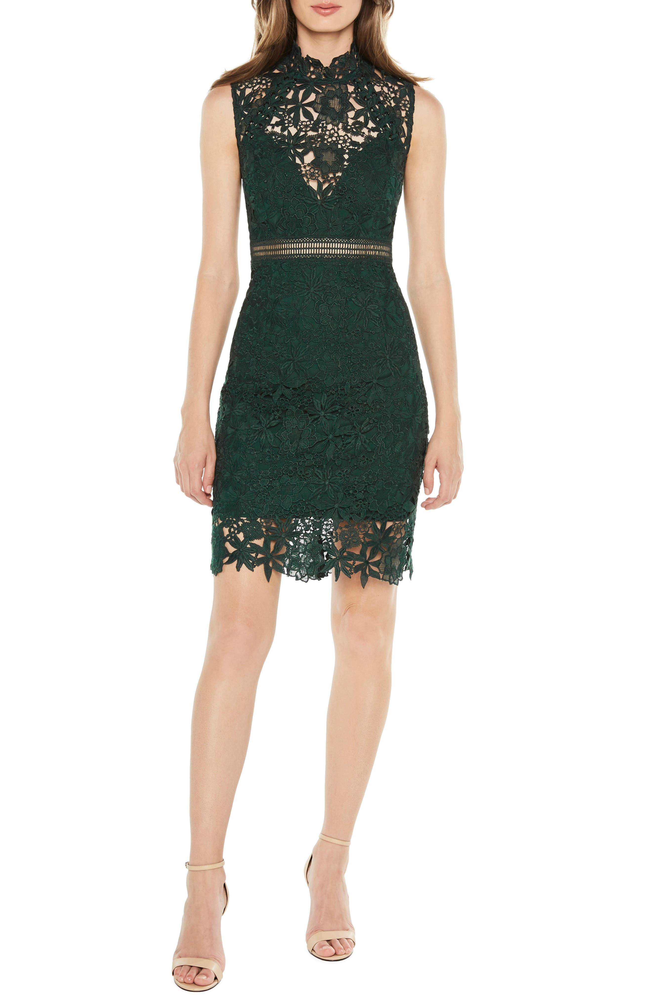 Paris Lace Body-Con Dress, Main, color, FOREST GREEN