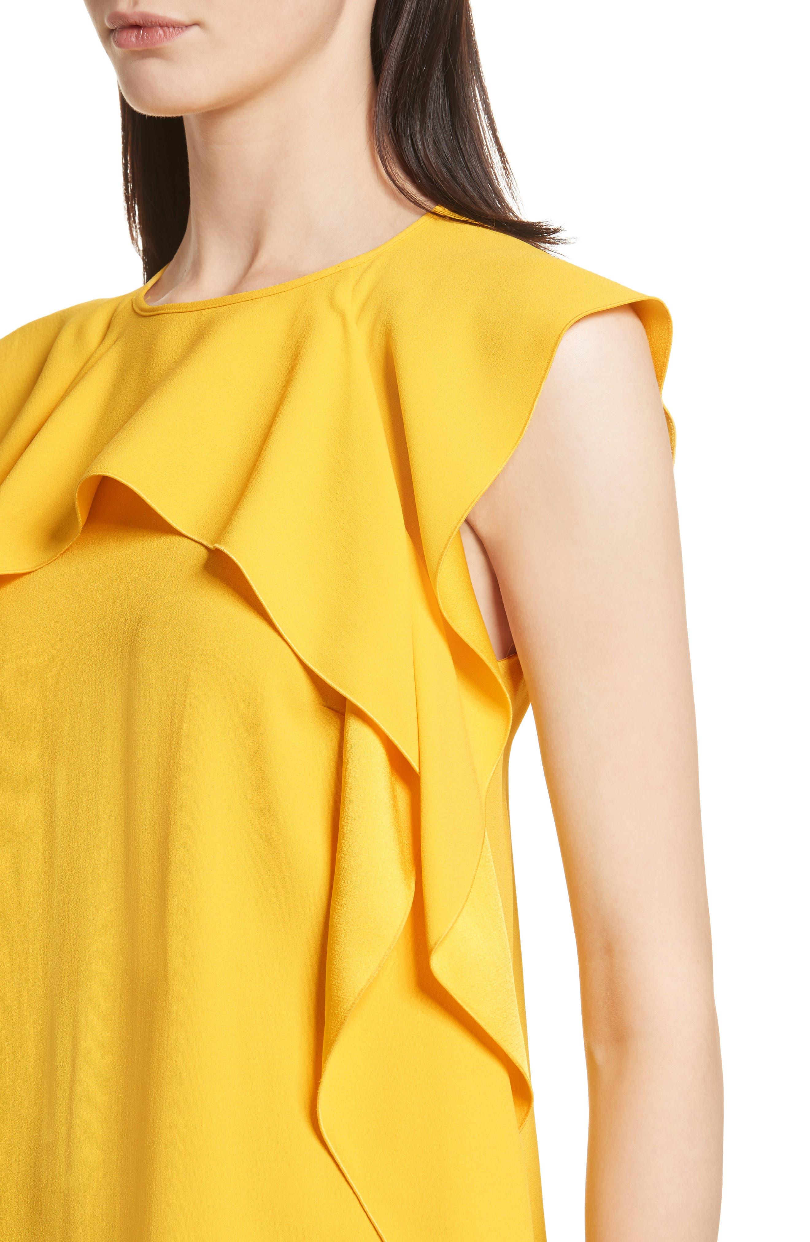 Ruffle Satin Back Crepe Dress,                             Alternate thumbnail 4, color,                             700