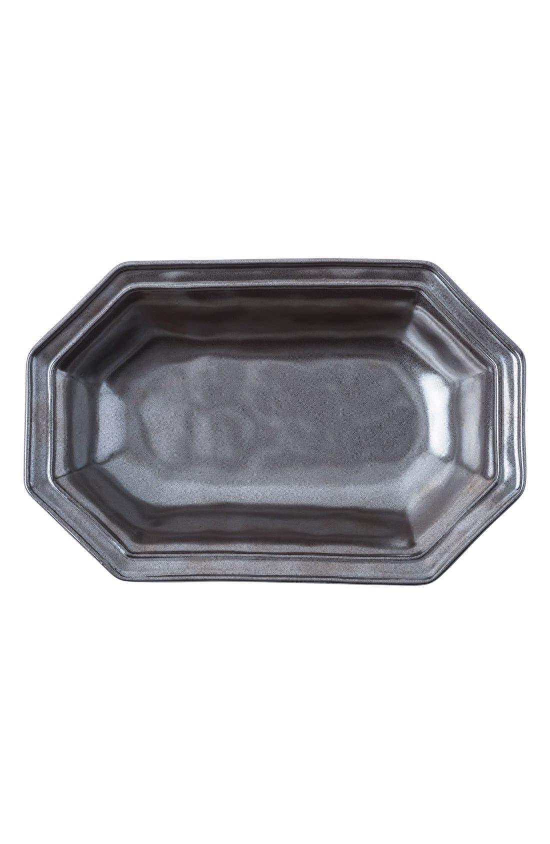 Pewter Stoneware Octagonal Serving Bowl,                             Alternate thumbnail 3, color,