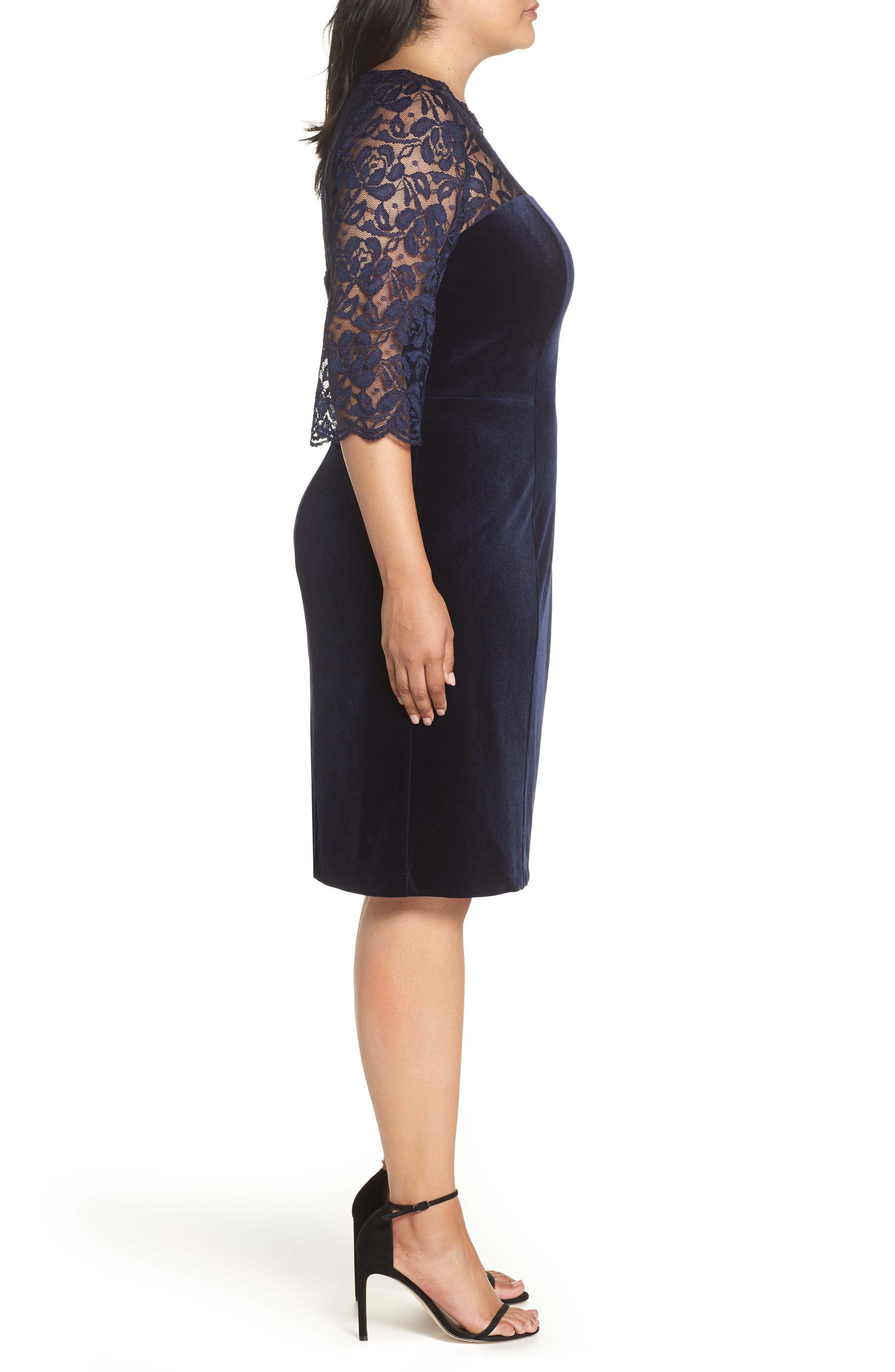 Lace & Stretch Velvet Cocktail Dress,                             Alternate thumbnail 3, color,                             NAVY