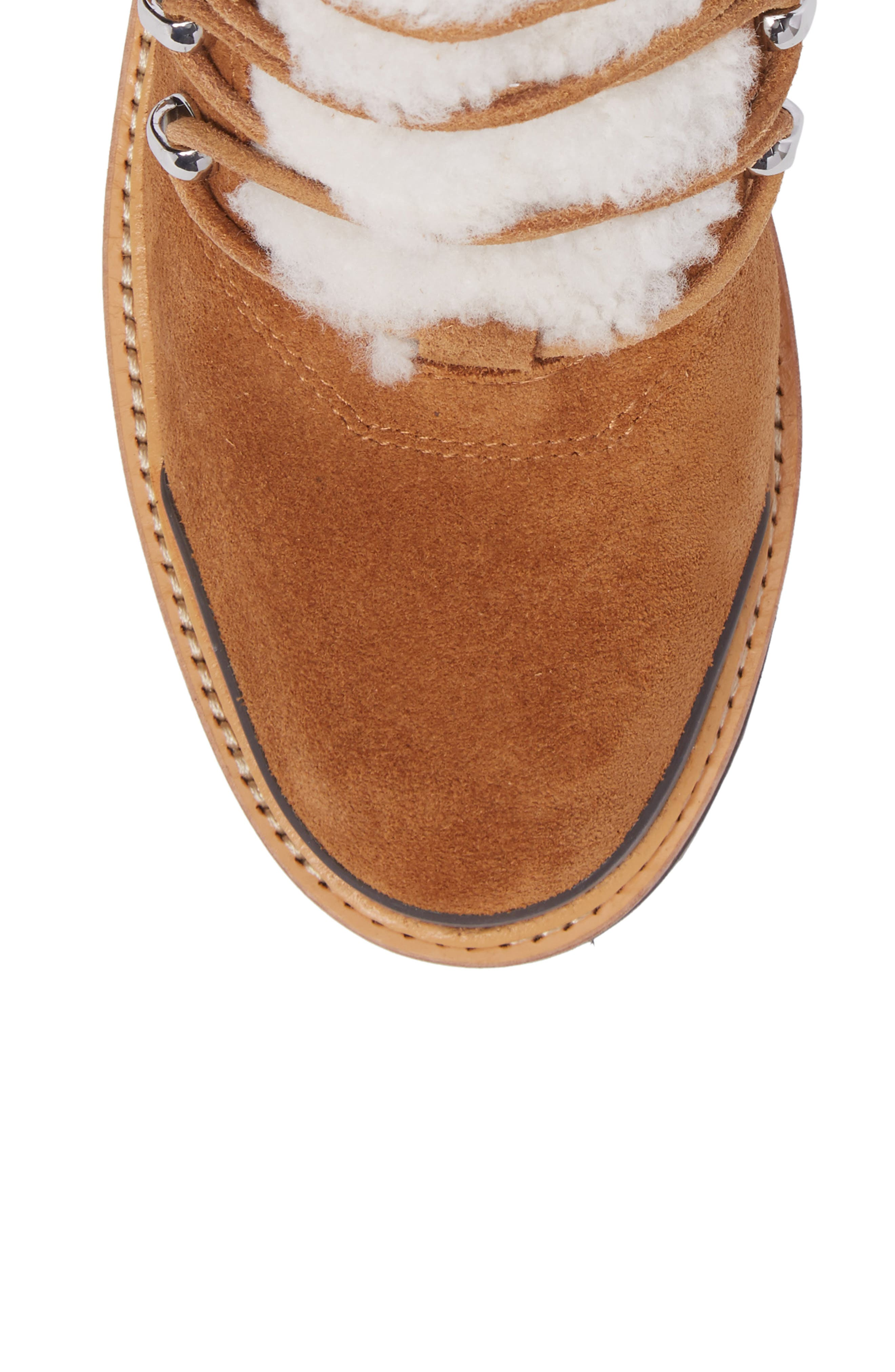 Izzie Genuine Shearling Lace-Up Boot,                             Alternate thumbnail 5, color,                             COGNAC SUEDE