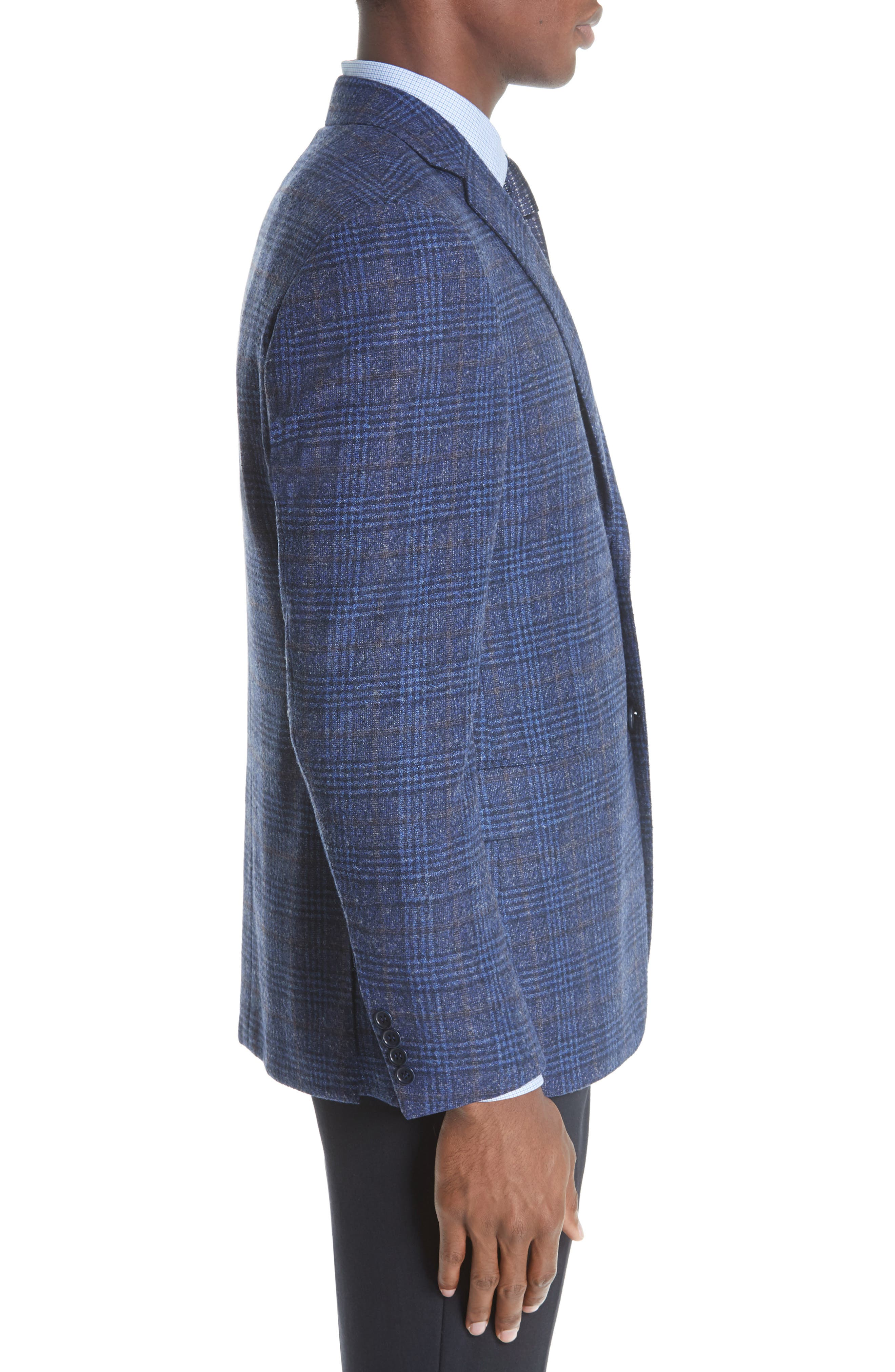 Classic Fit Plaid Wool Blend Sport Coat,                             Alternate thumbnail 3, color,                             DARK BLUE
