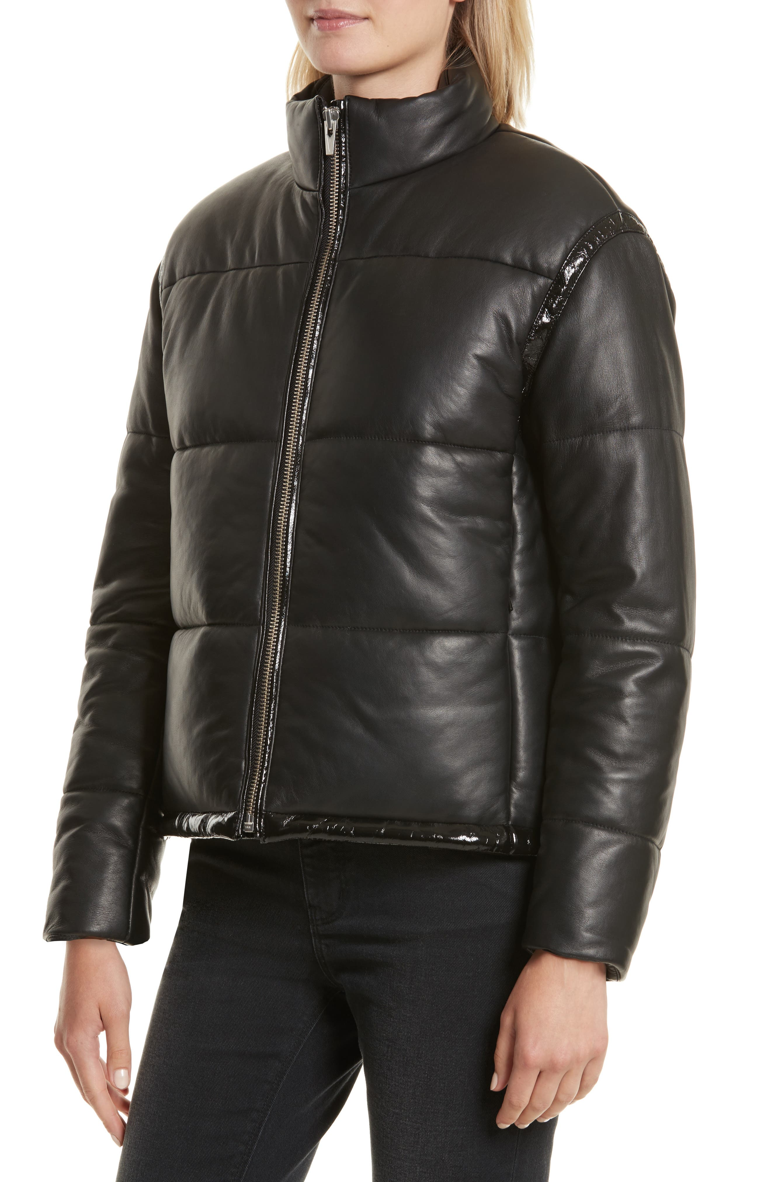 Power Puff Leather Jacket,                             Alternate thumbnail 4, color,                             001